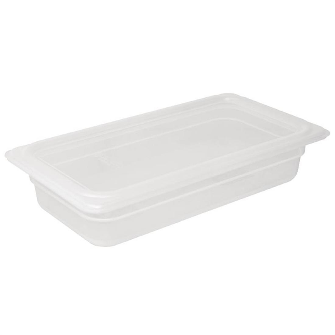Vogue Polypropylene 1/3 Gastronorm Container with Lid 100mm - Pack of 4 - GJ519