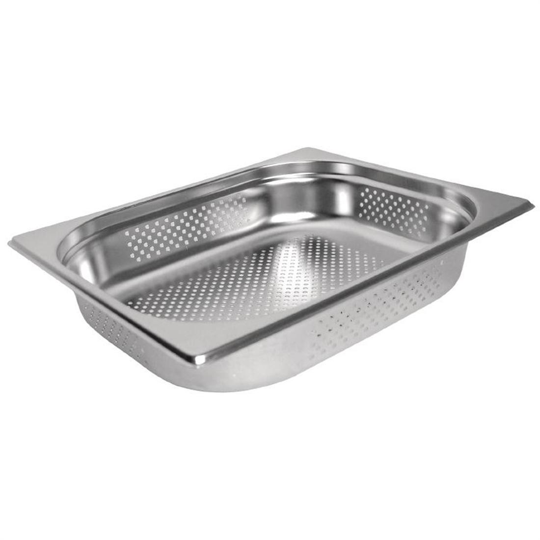 Vogue Stainless Steel Perforated 1/2 Gastronorm Pan 100mm - K845