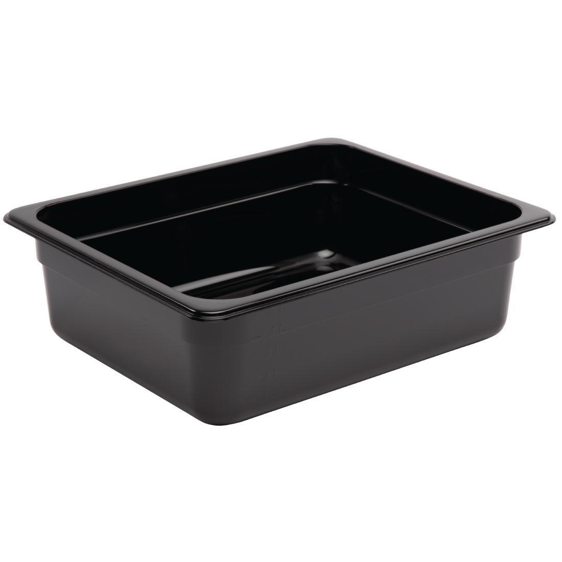 Vogue Polycarbonate 1/2 Gastronorm Container 100mm Black - U459
