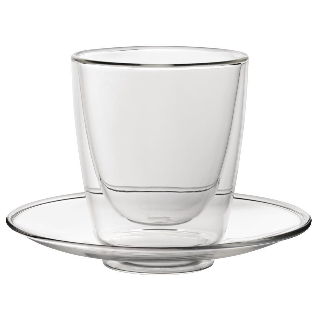 Double Walled Cappuccino Glass & Saucer - 220ml 7.7oz (Box 6) - CP884