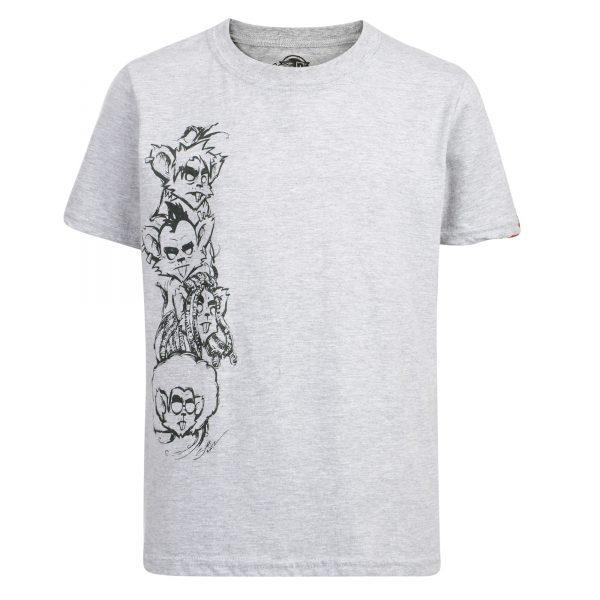 Surf Ratz MultiHeads T-shirt – Grey - surf-ratz