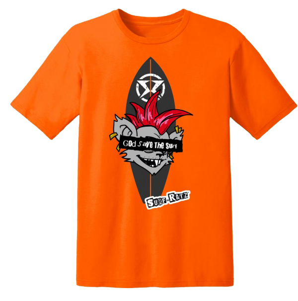 Surf Ratz God Save The Surf Kid's T-Shirt – Orange - surf-ratzz
