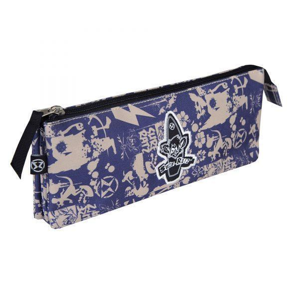 Surf Ratz SuperGrunge 3 Compartment Pencil Case – Blue/Stone - surf-ratzz