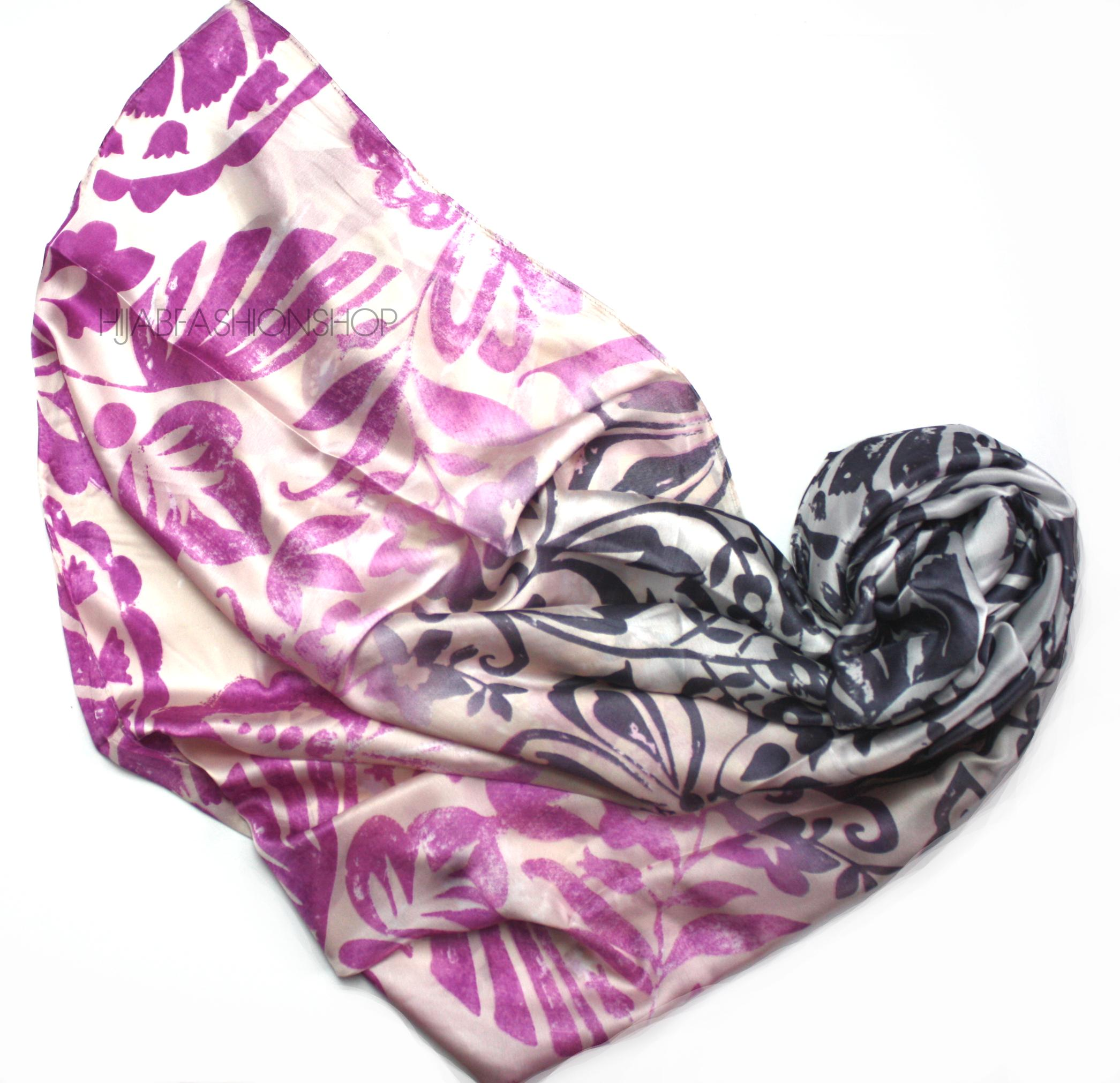 pink floral ombre print silk hijab