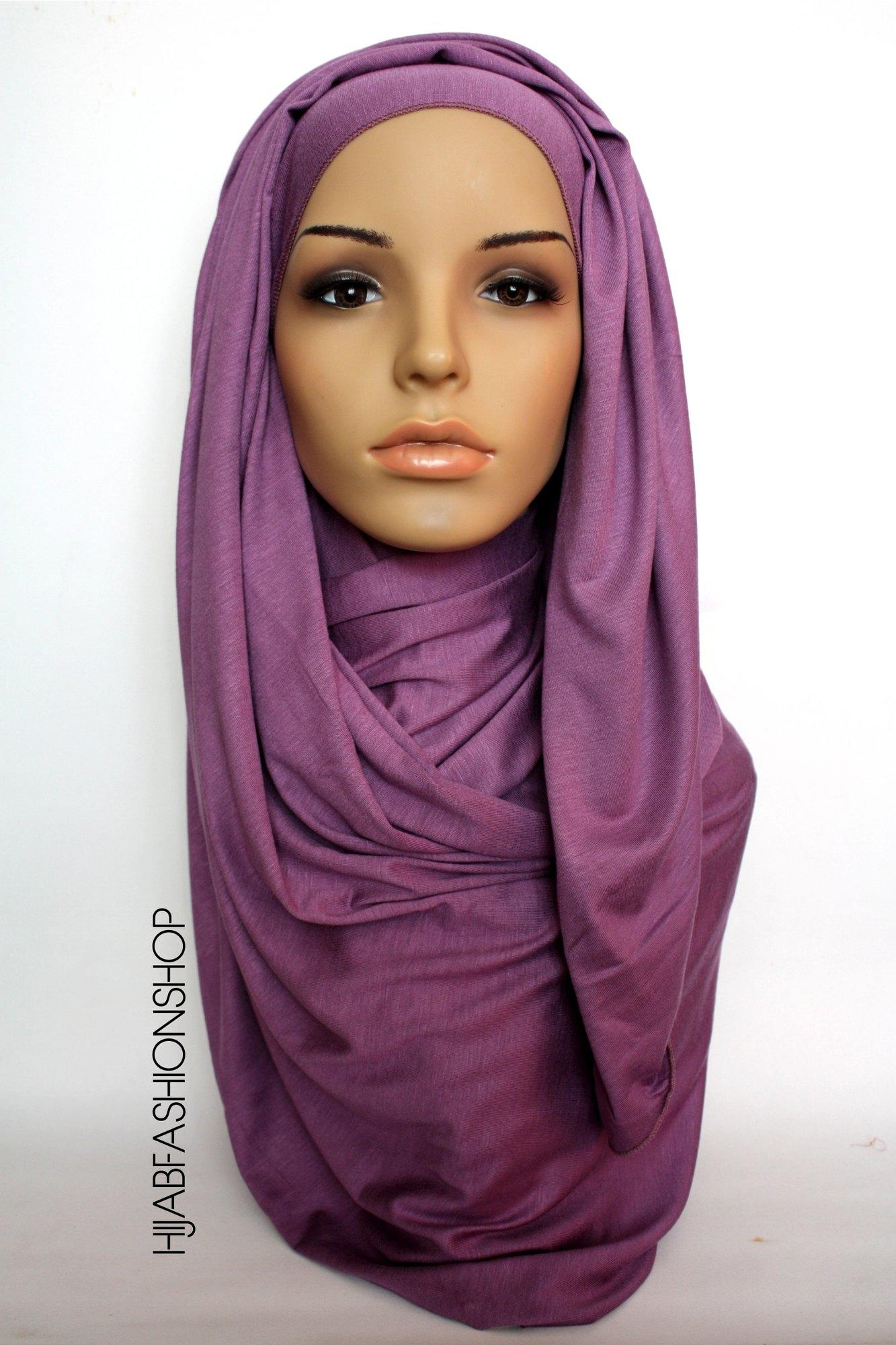 dusty purple plain jersey hijab