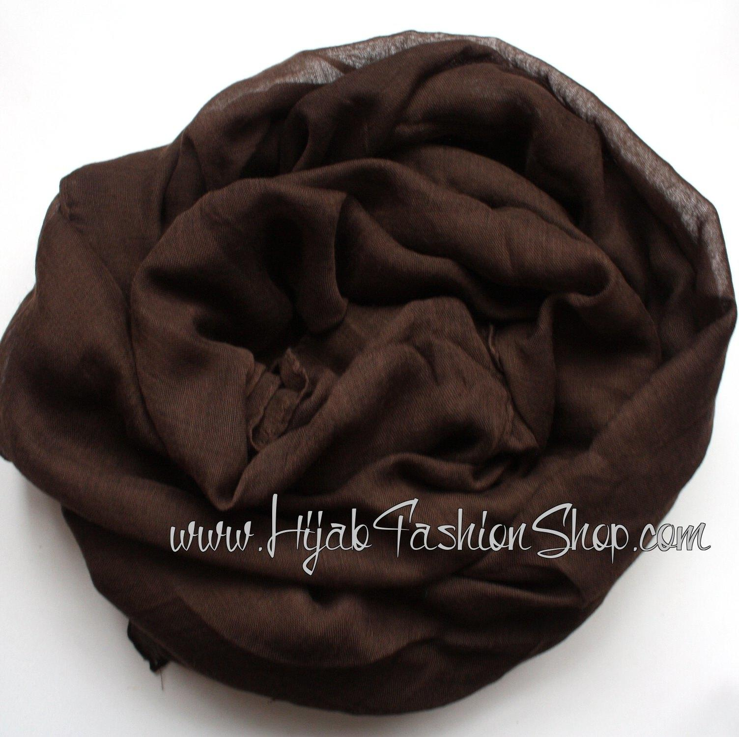 chocolate brown plain viscose hijab