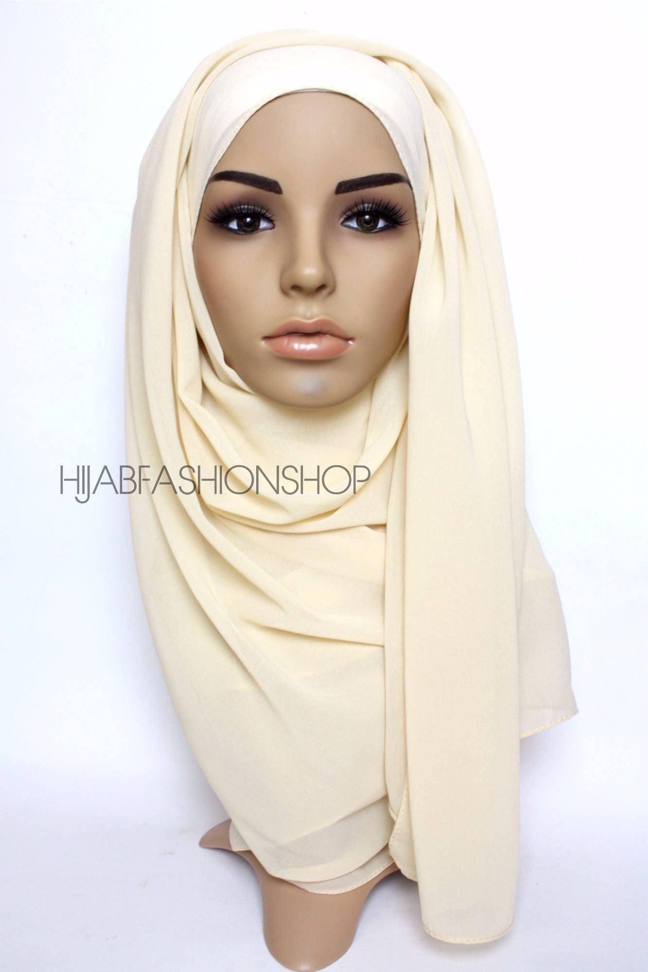light cream crepe chiffon hijab