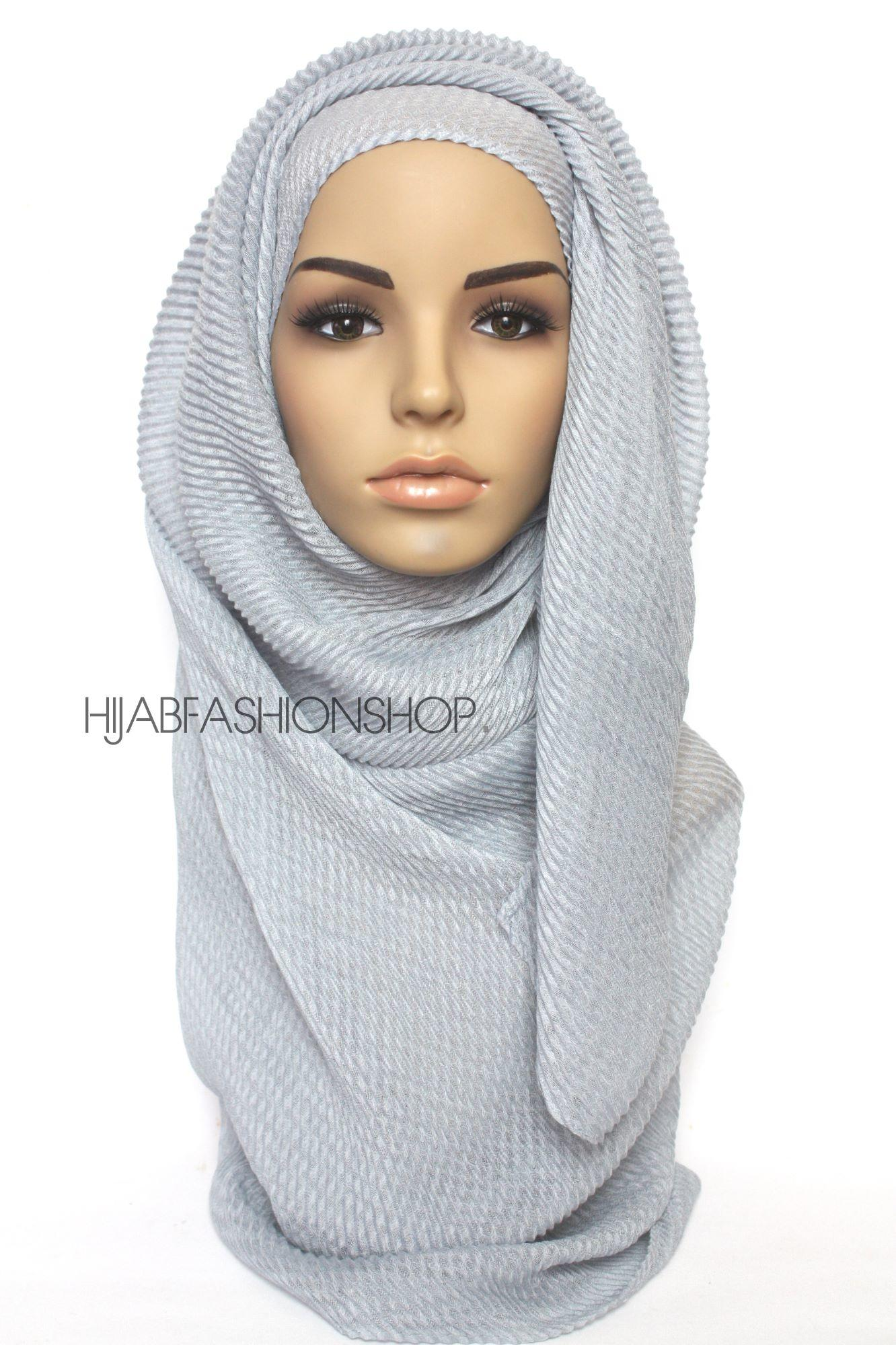 grey pleated hijab