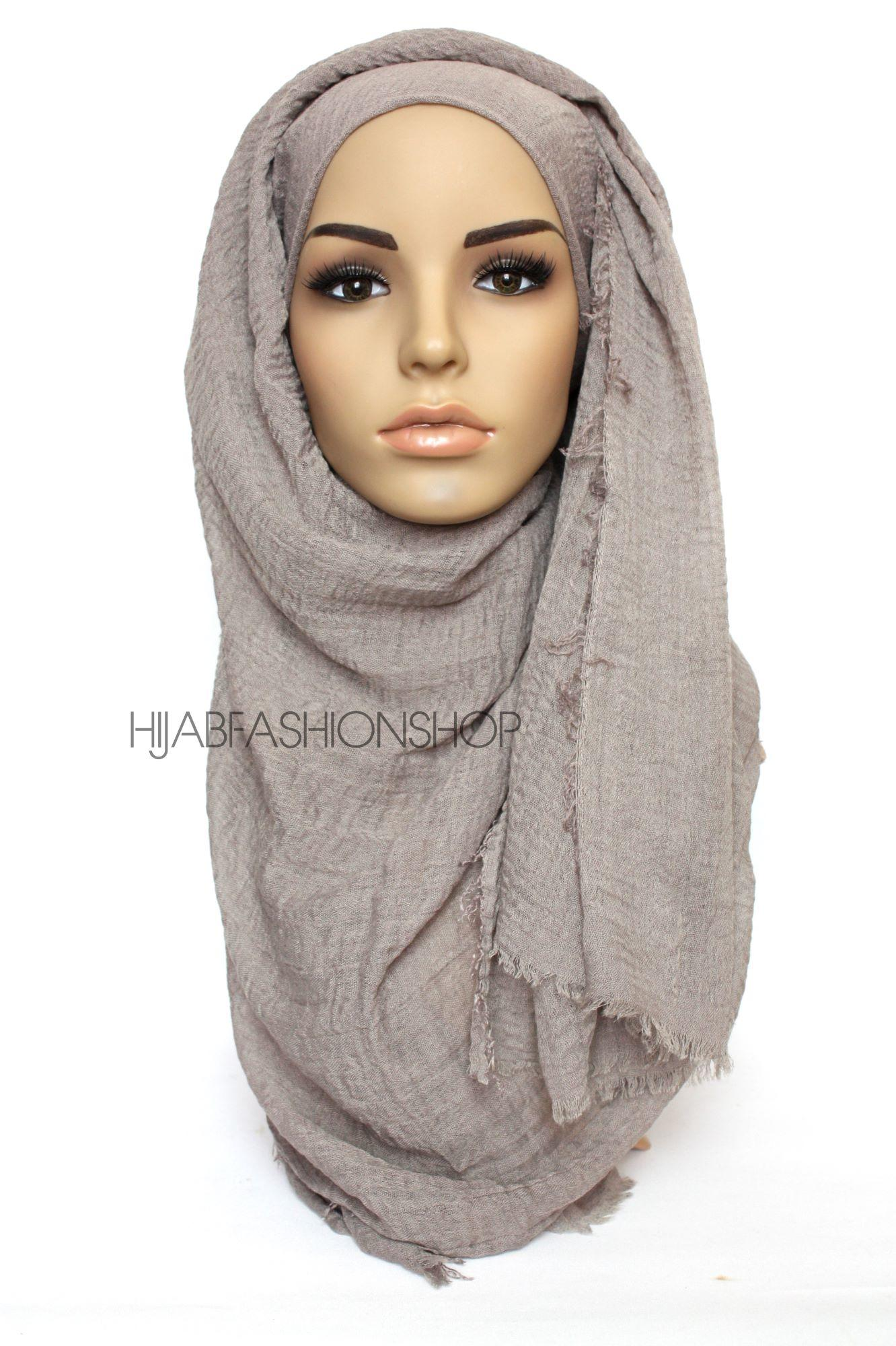 light taupe crimp crinkle hijab