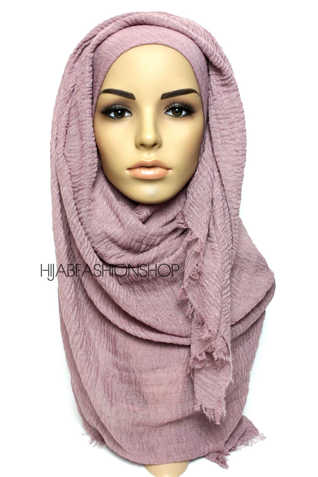 dark mauve crimp crinkle hijab