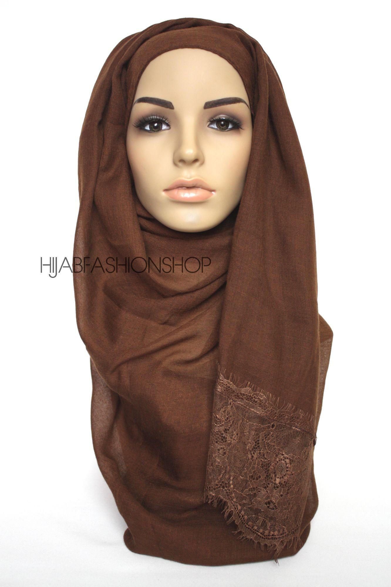 brown plain hijab with lace edges