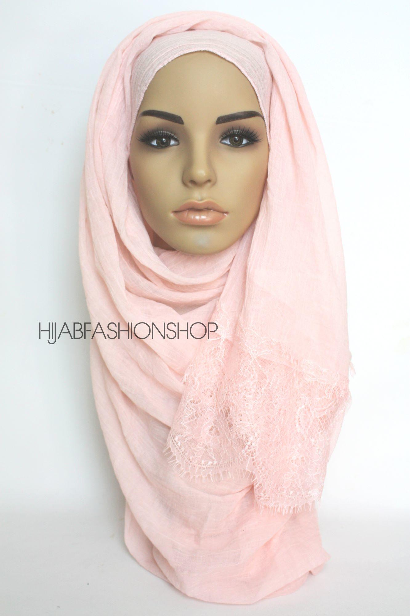 baby pink plain hijab with lace edges