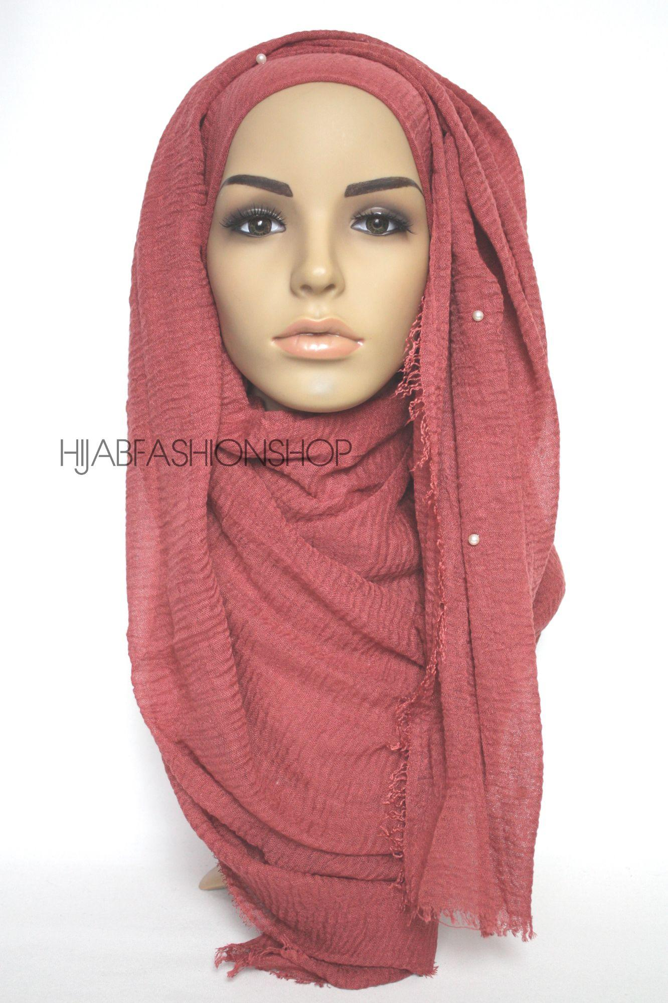 red brick crimp crinkle hijab with pearls