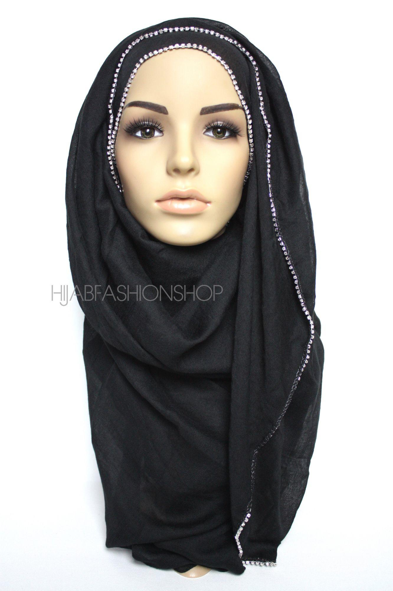black plain hijab with clear crystal line on one longer edge