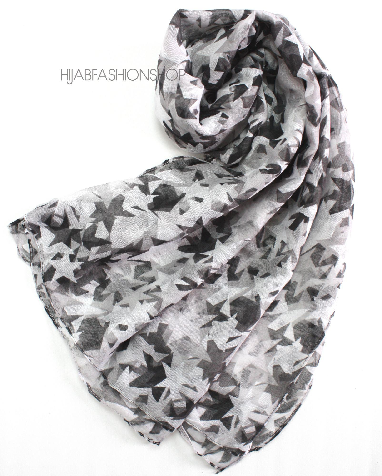 black, grey and white star print hijab