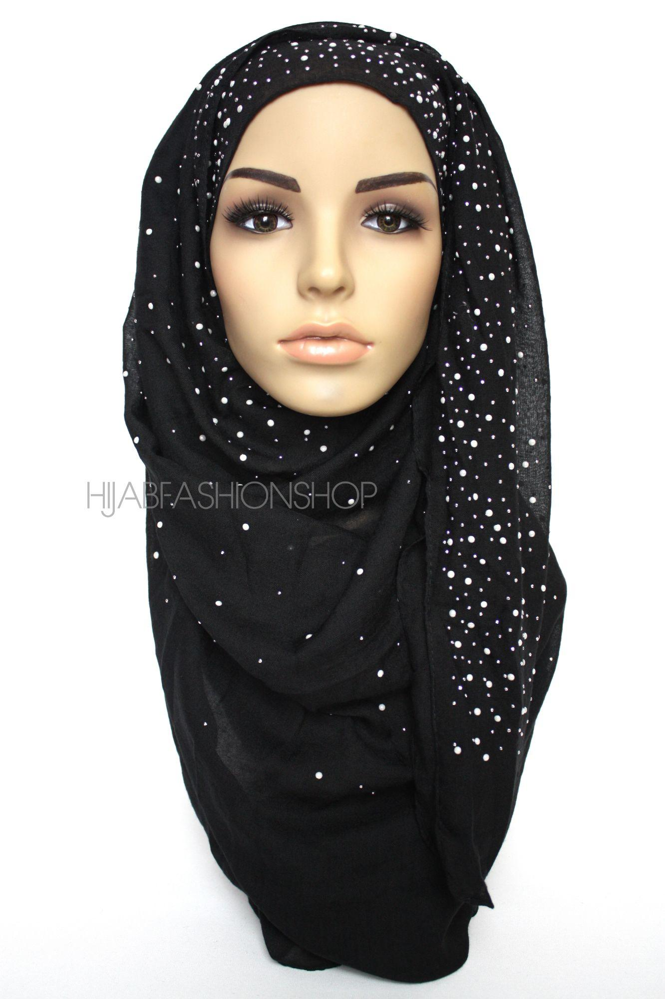 black hijab with silver studs and pearls