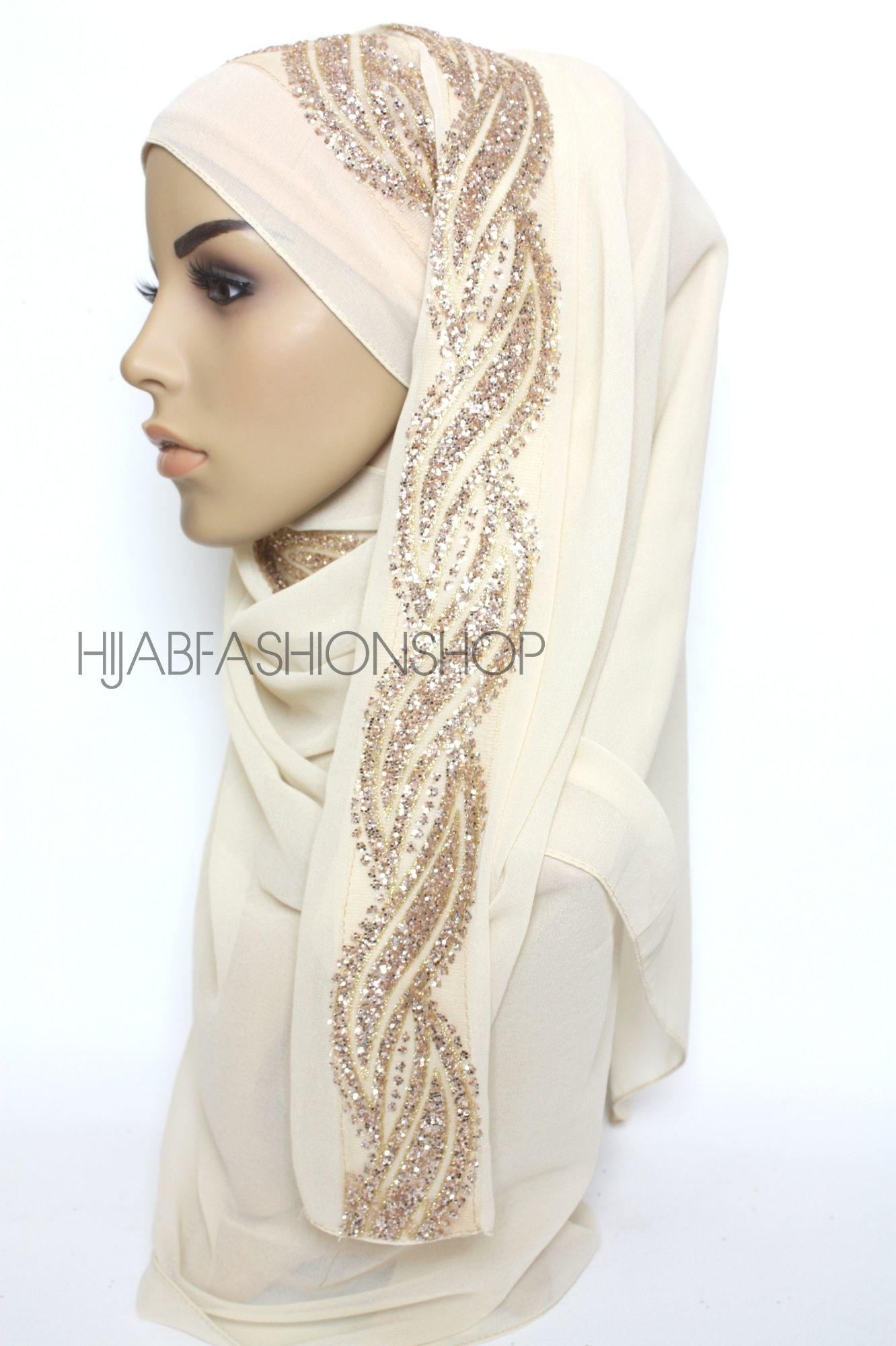 cream chiffon hijab with glitter line on one side