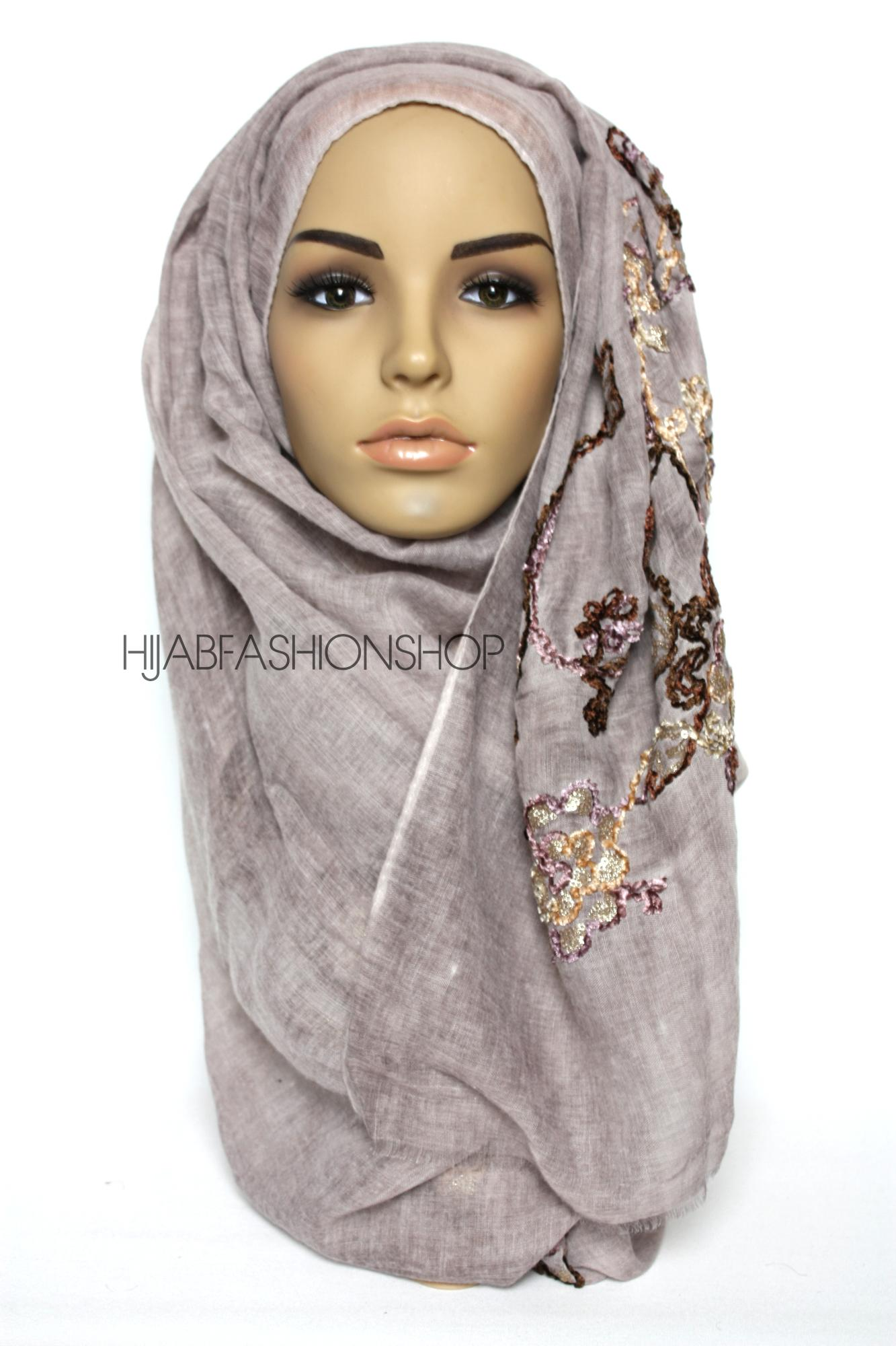 dusky mauve linen look hijab with floral velvet embroidery and sequins