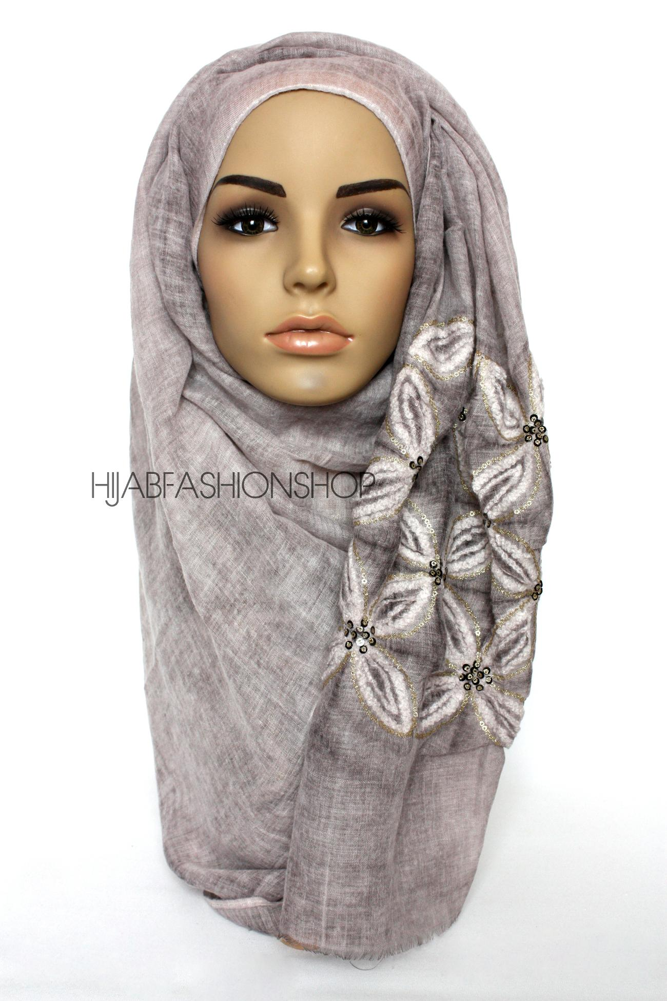 dusky mauve linen look hijab with lilies embroidery and sequins