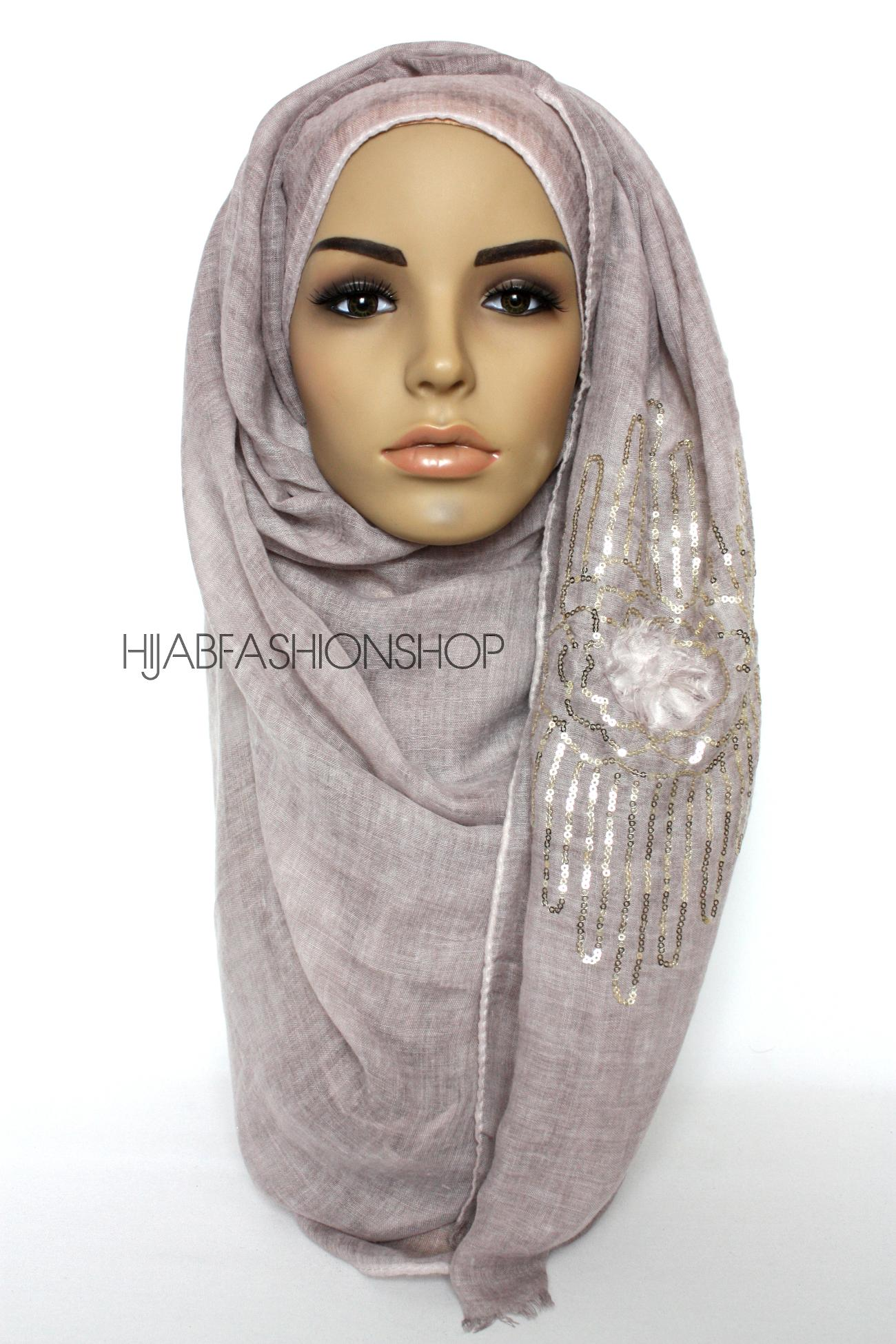 dusky mauve linen look hijab with frayed flower detail and sequins