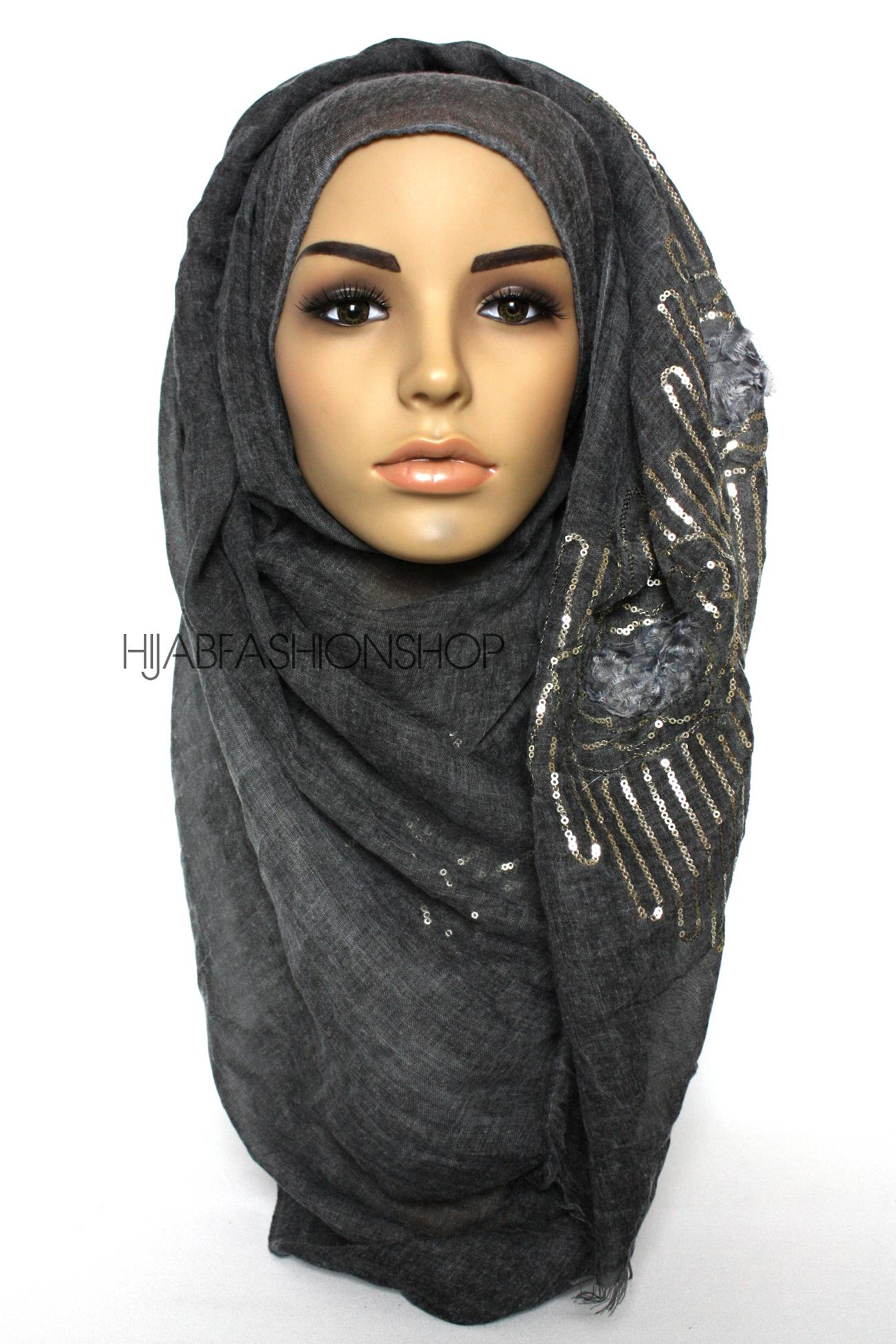 charcoal linen look hijab with frayed flower detail and gold sequins