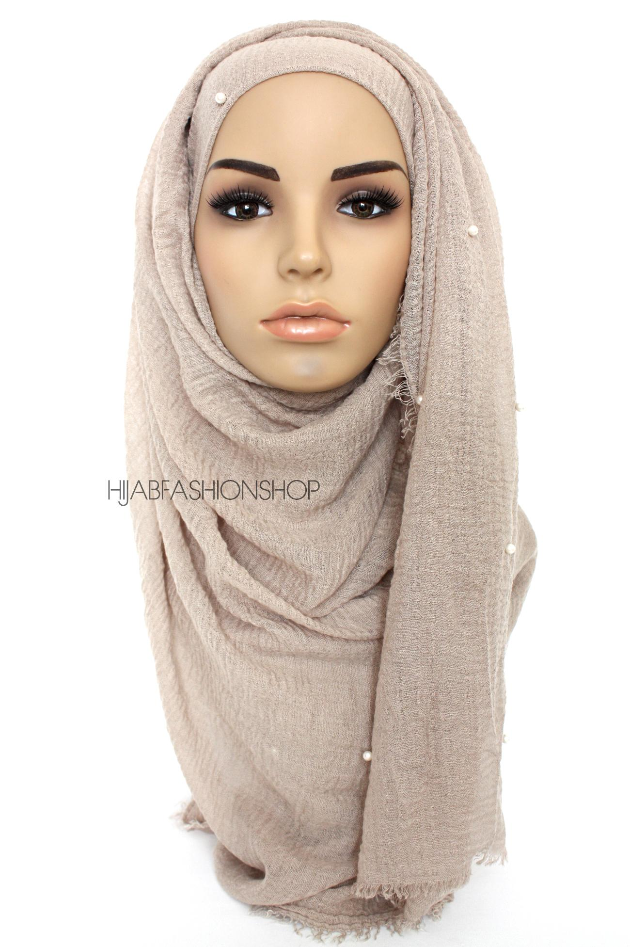 light taupe crimp crinkle hijab with pearls