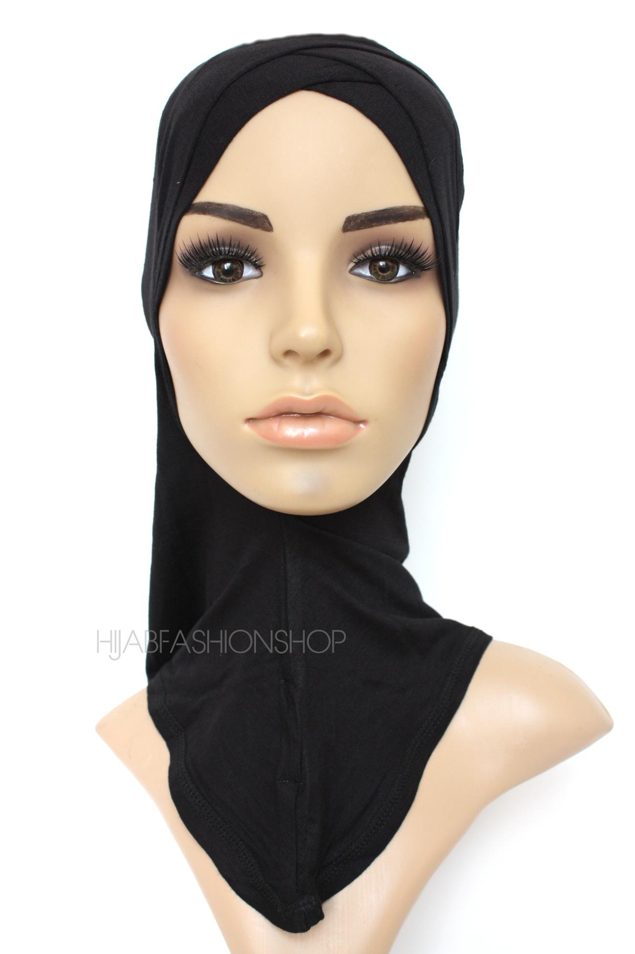 black full hijab underscarf with double criss cross peak