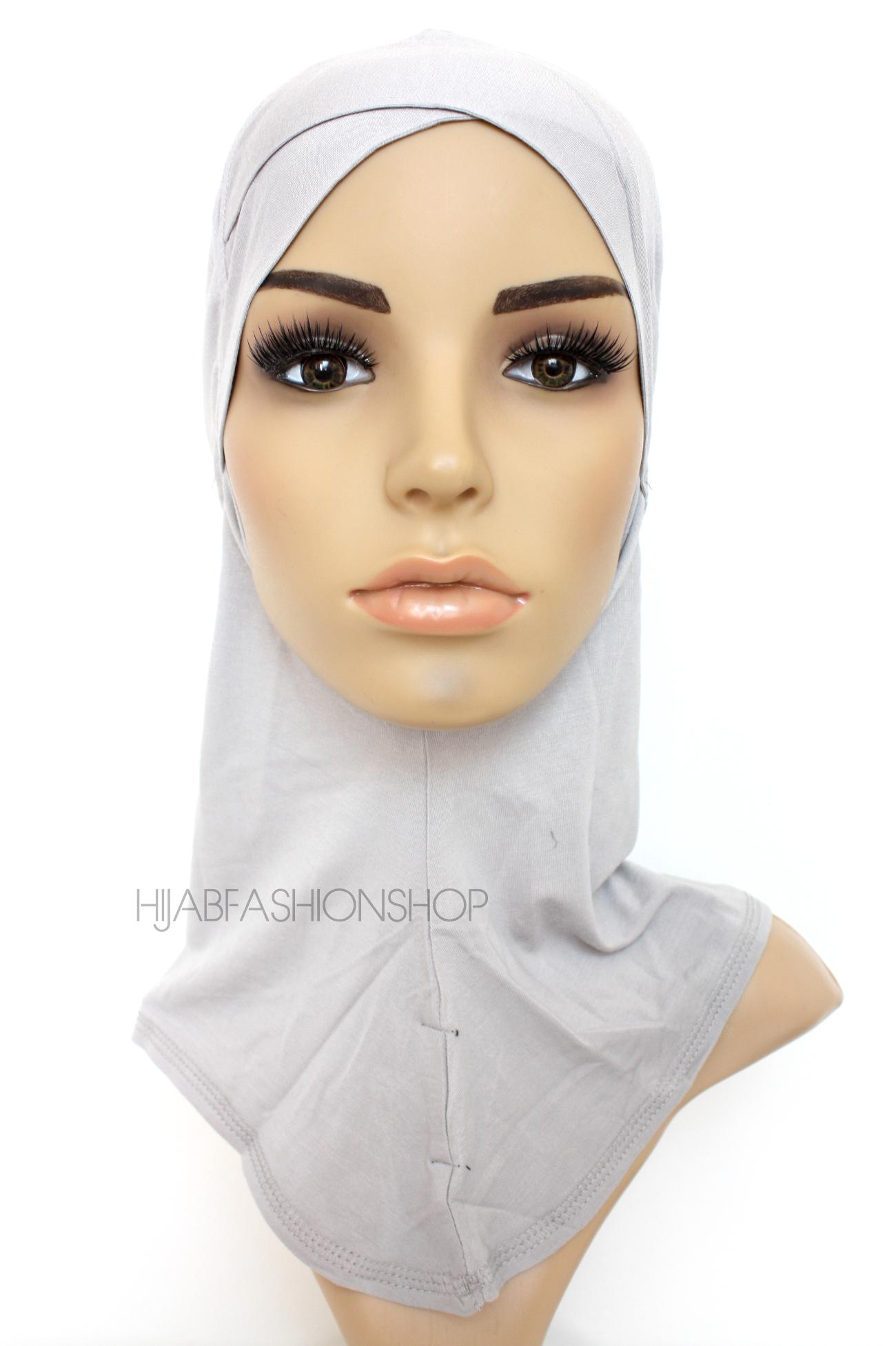 grey full hijab underscarf with criss cross peak