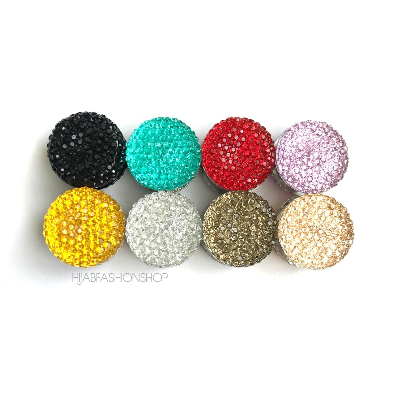 8 crystal round magnetic hijab pins in variety of colours