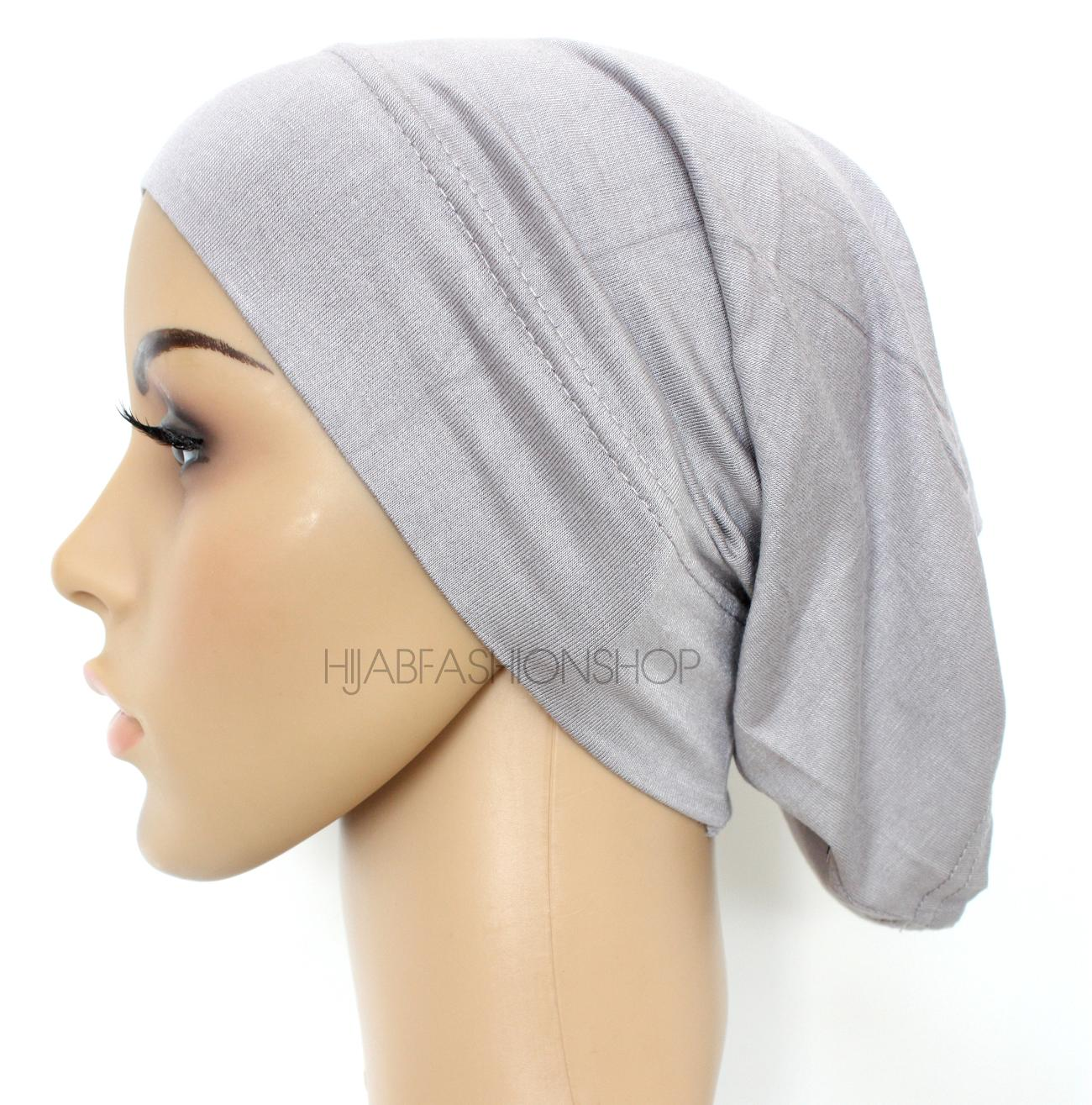 grey tube hijab cap