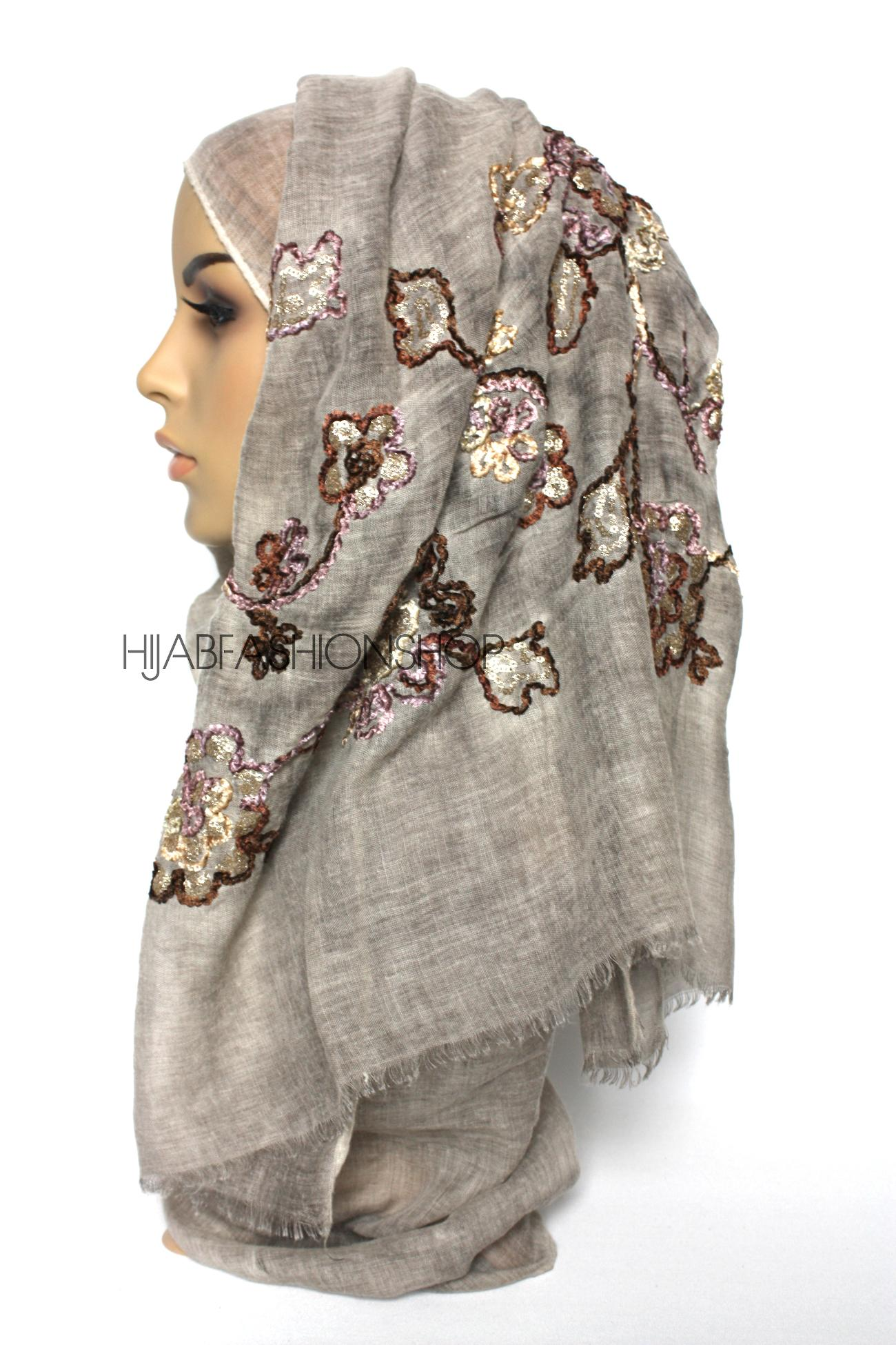 taupe linen look hijab with floral velvet embroidery and sequins side view