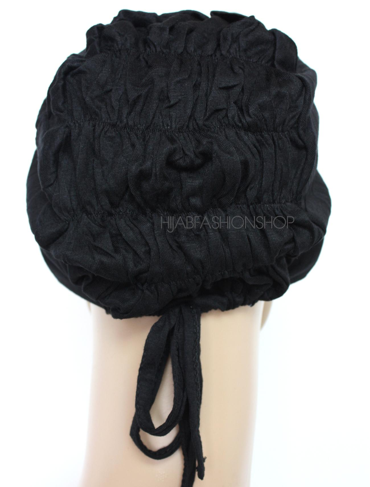 black ruched back string bonnet back view
