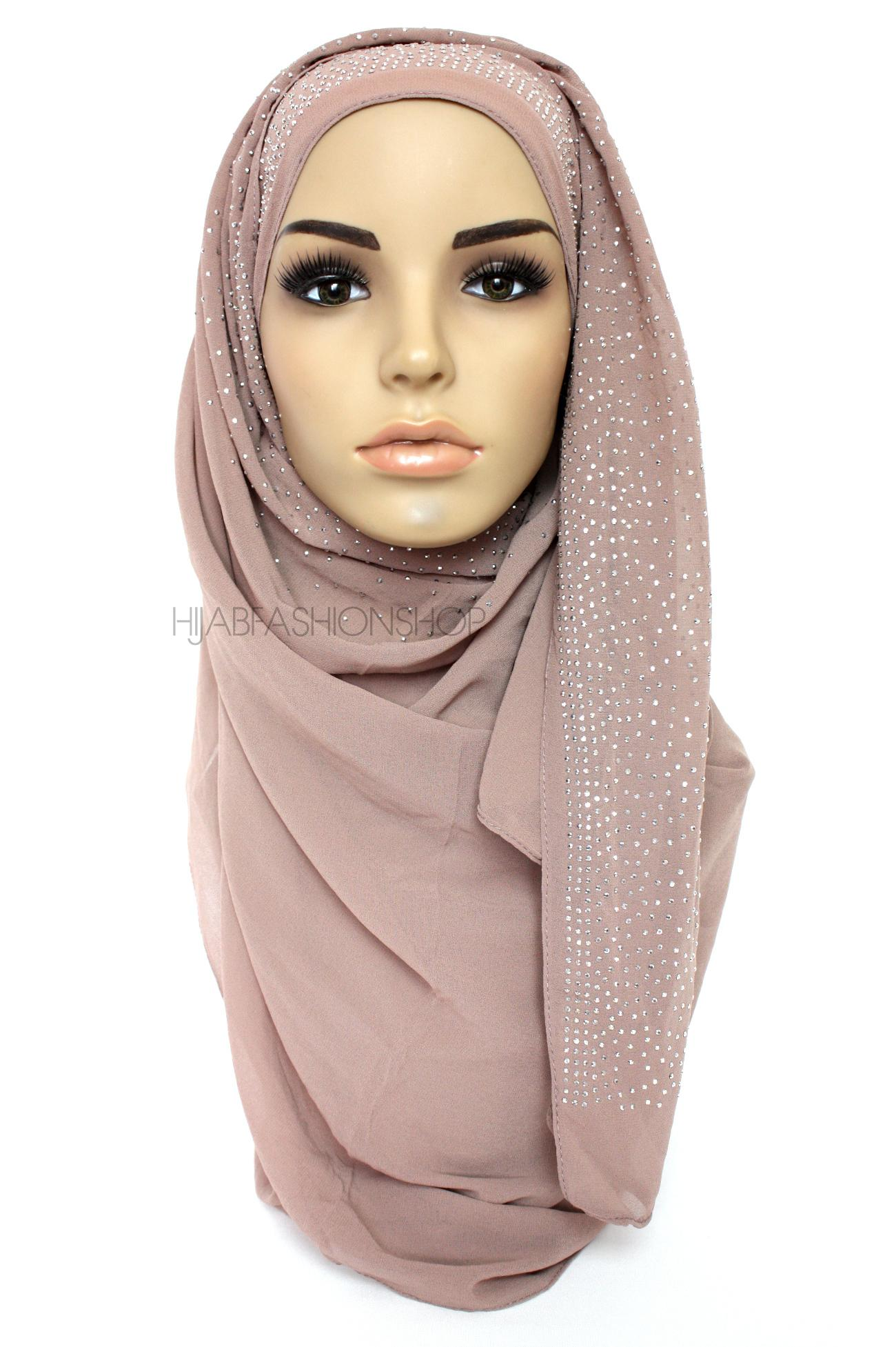 Light cappuccino studded chiffon hijab 2