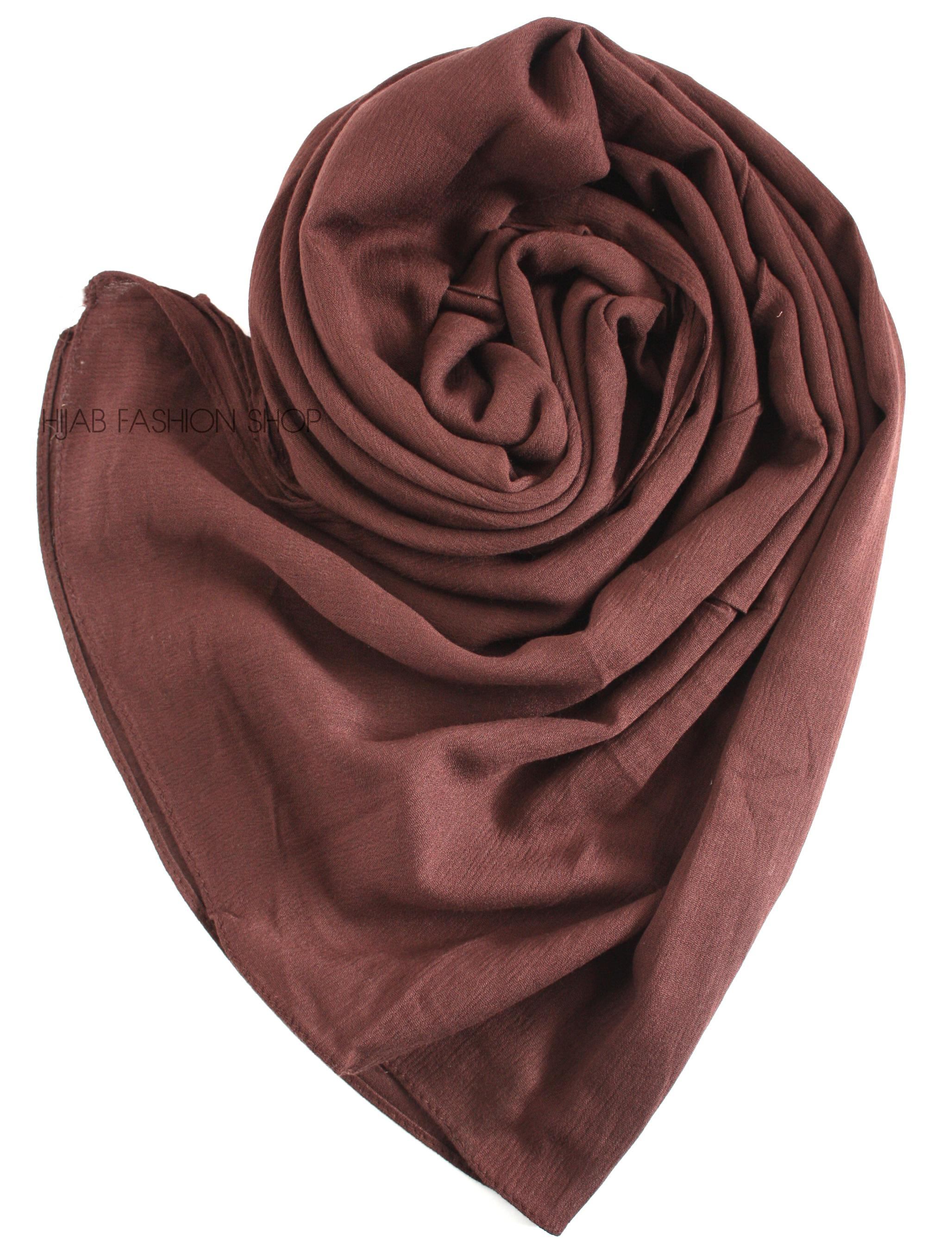 chocolate brown rayon crinkle hijab