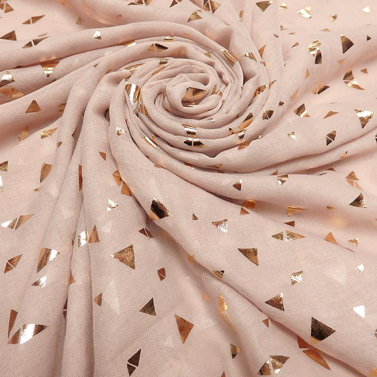powder pink gold triangle print hijab