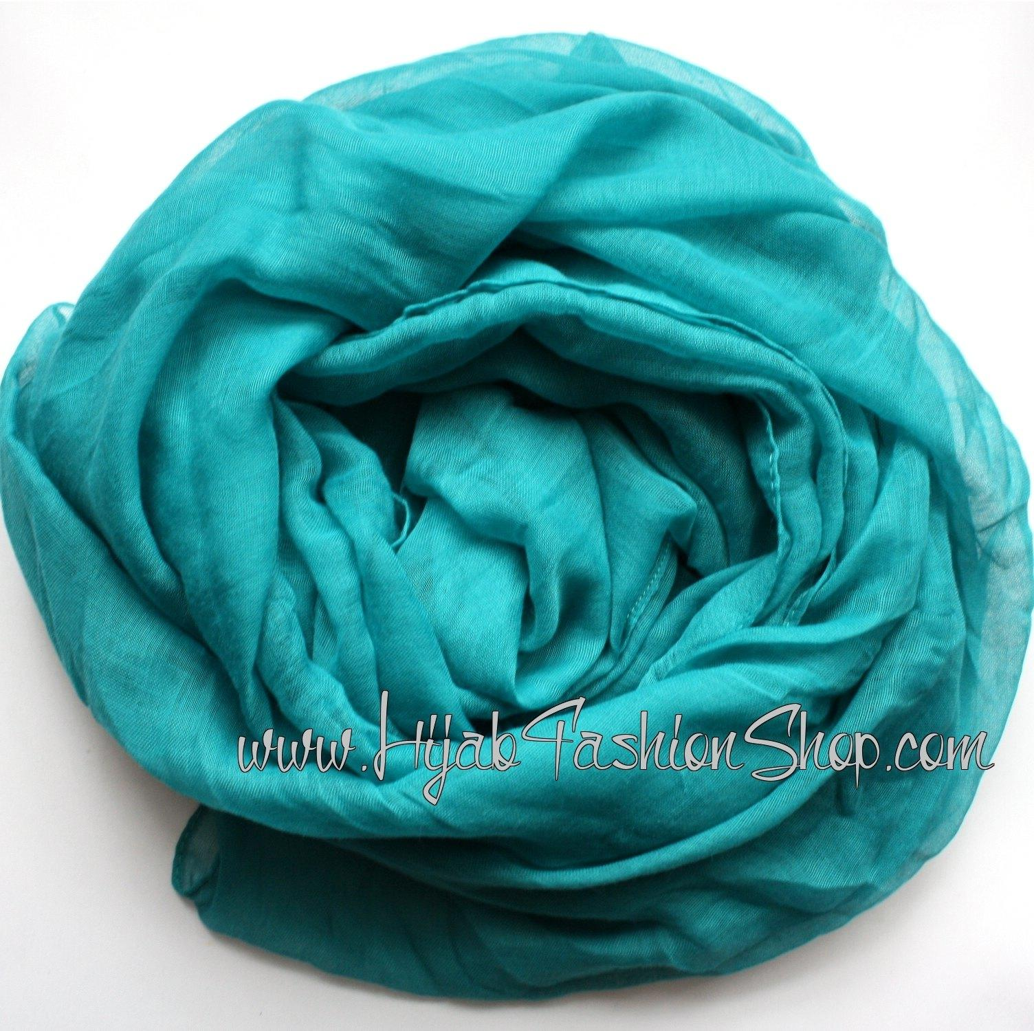 light teal plain viscose hijab