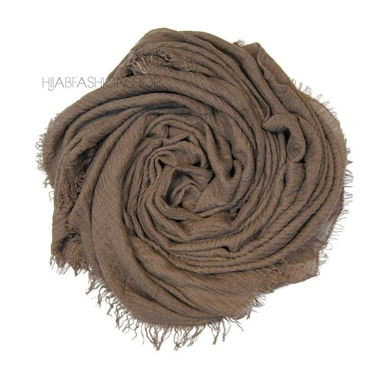 mocha crimp crinkle hijab with frayed edges