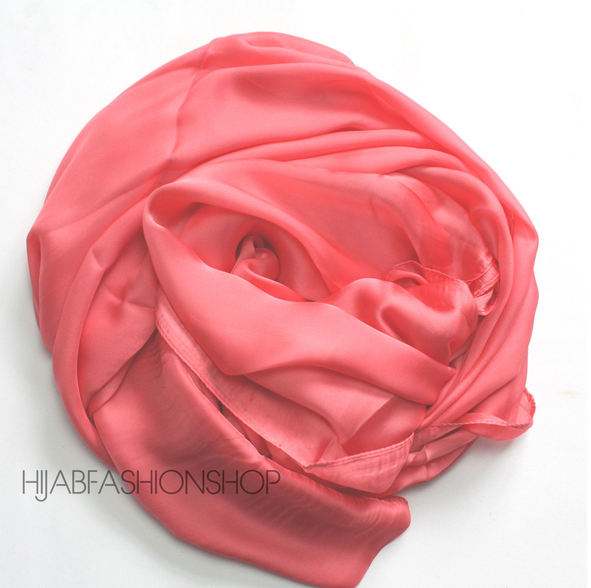 watermelon pink satin silk hijab