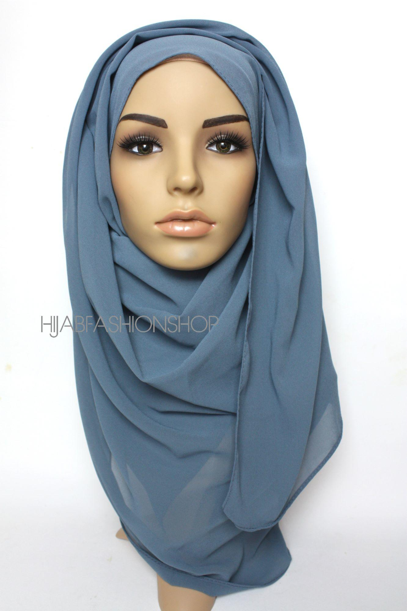 light denim crepe chiffon hijab