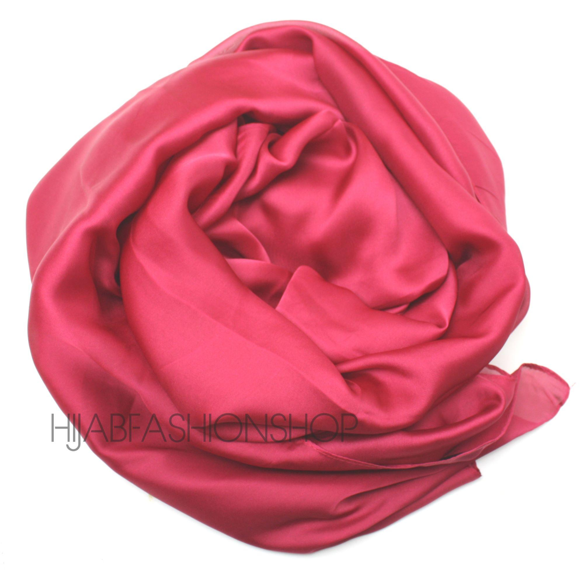 raspberry satin silk hijab