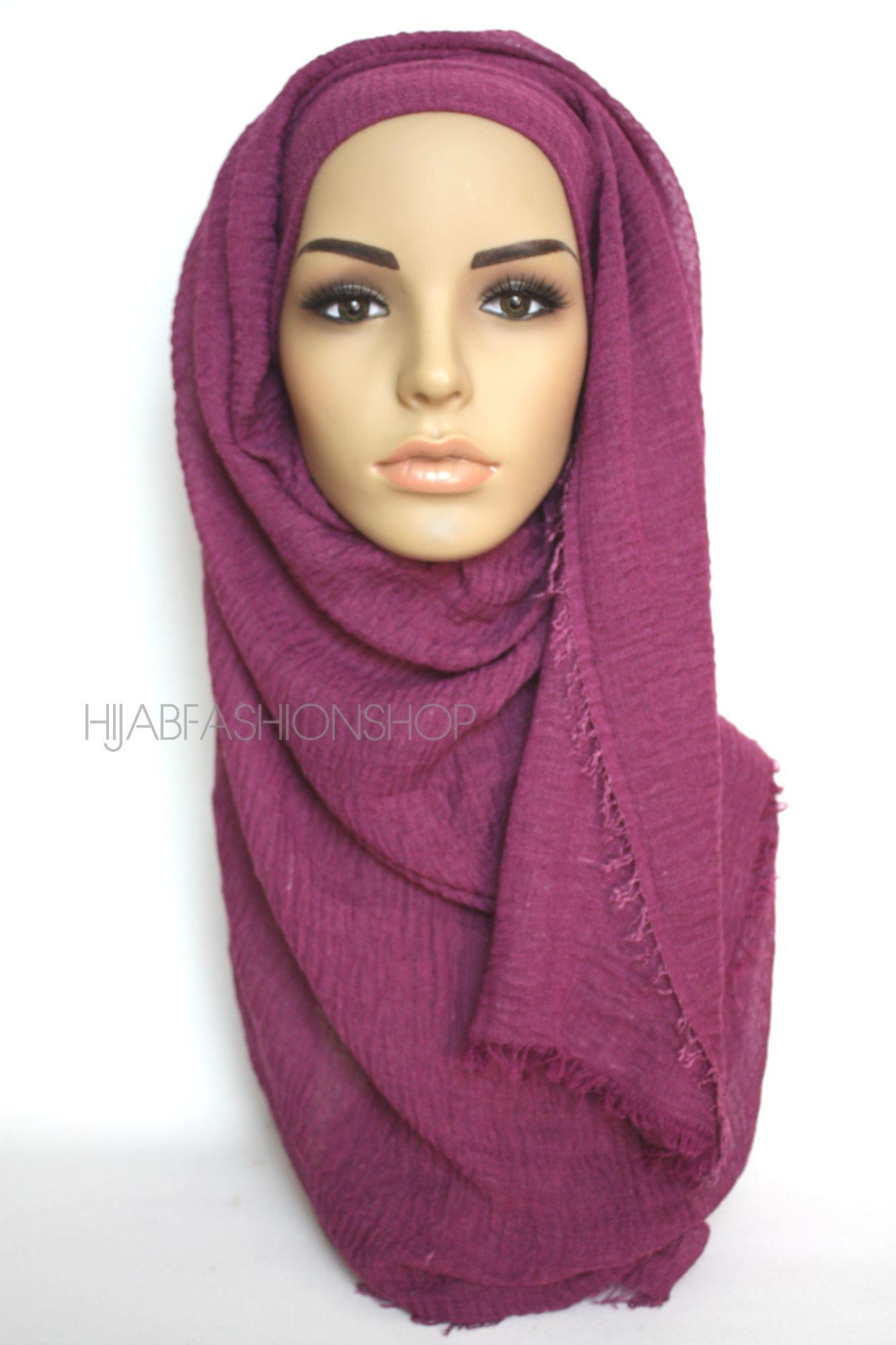 raspberry purple crimp crinkle hijab