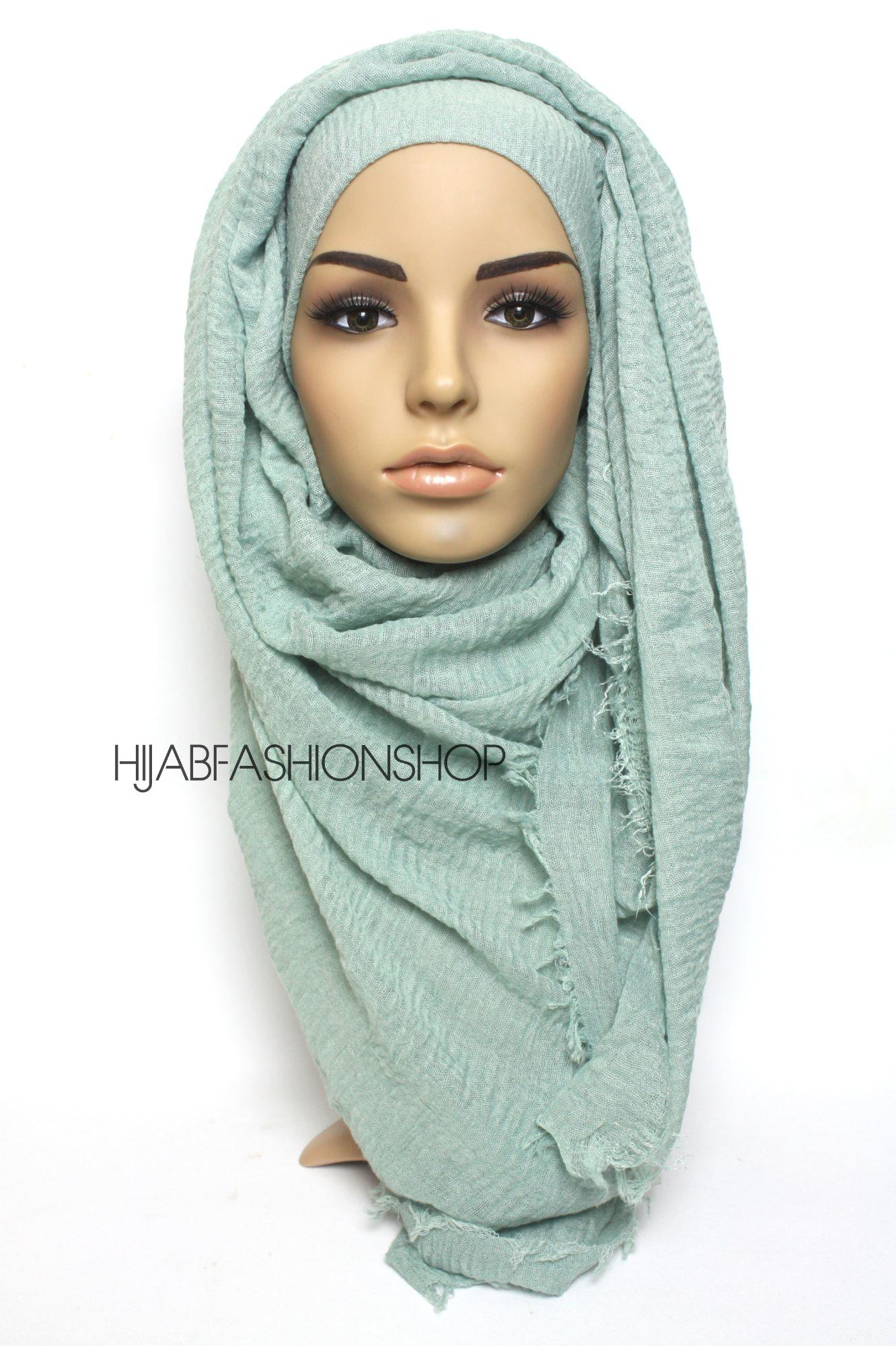 dusty mint crimp crinkle hijab