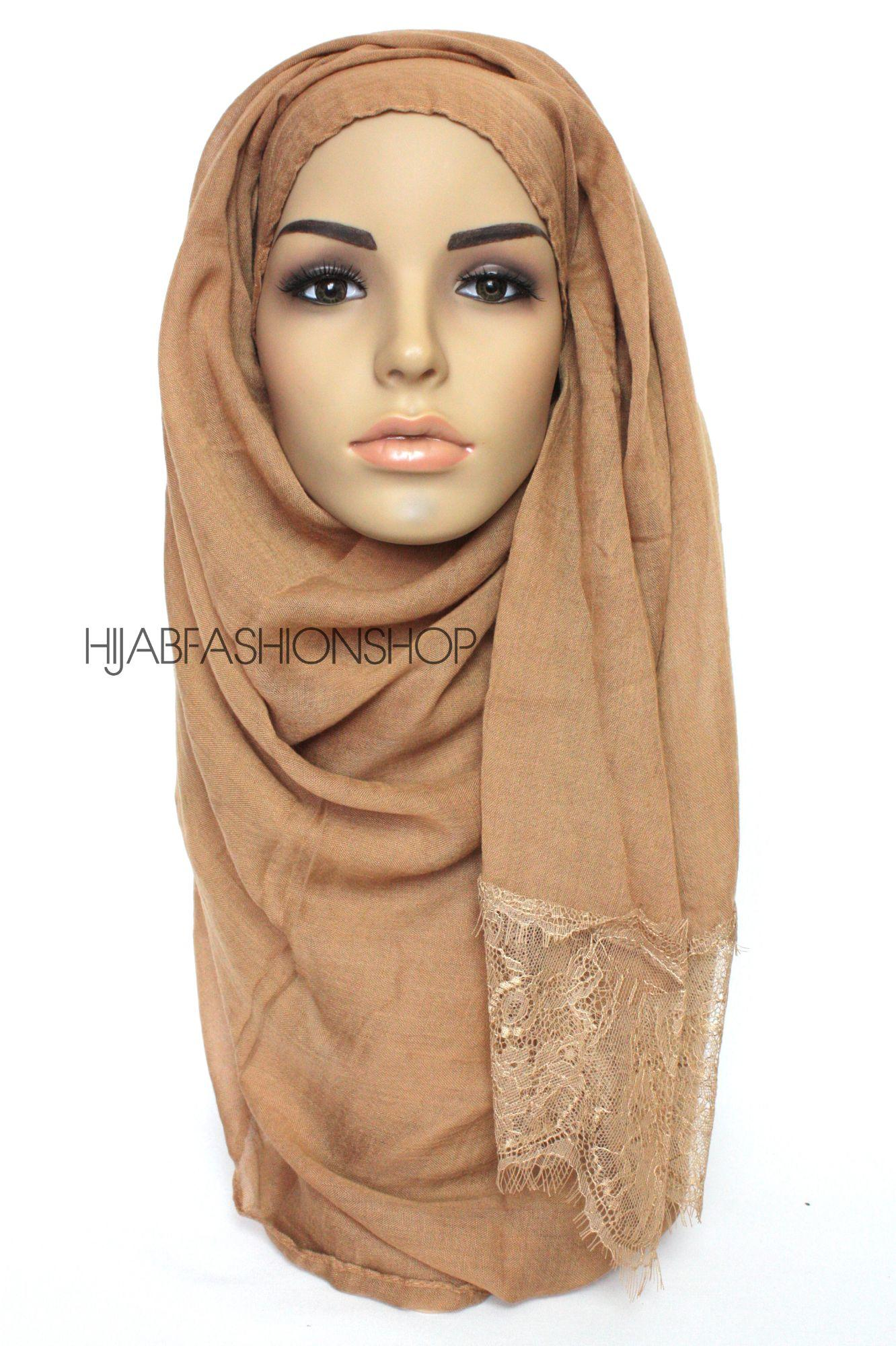 caramel plain hijab with lace edges