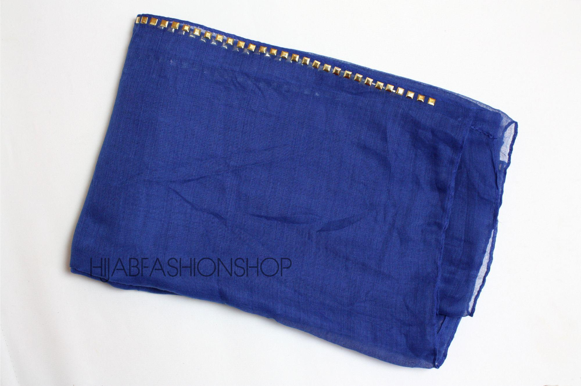 royal blue plain hijab with studs on longer sides