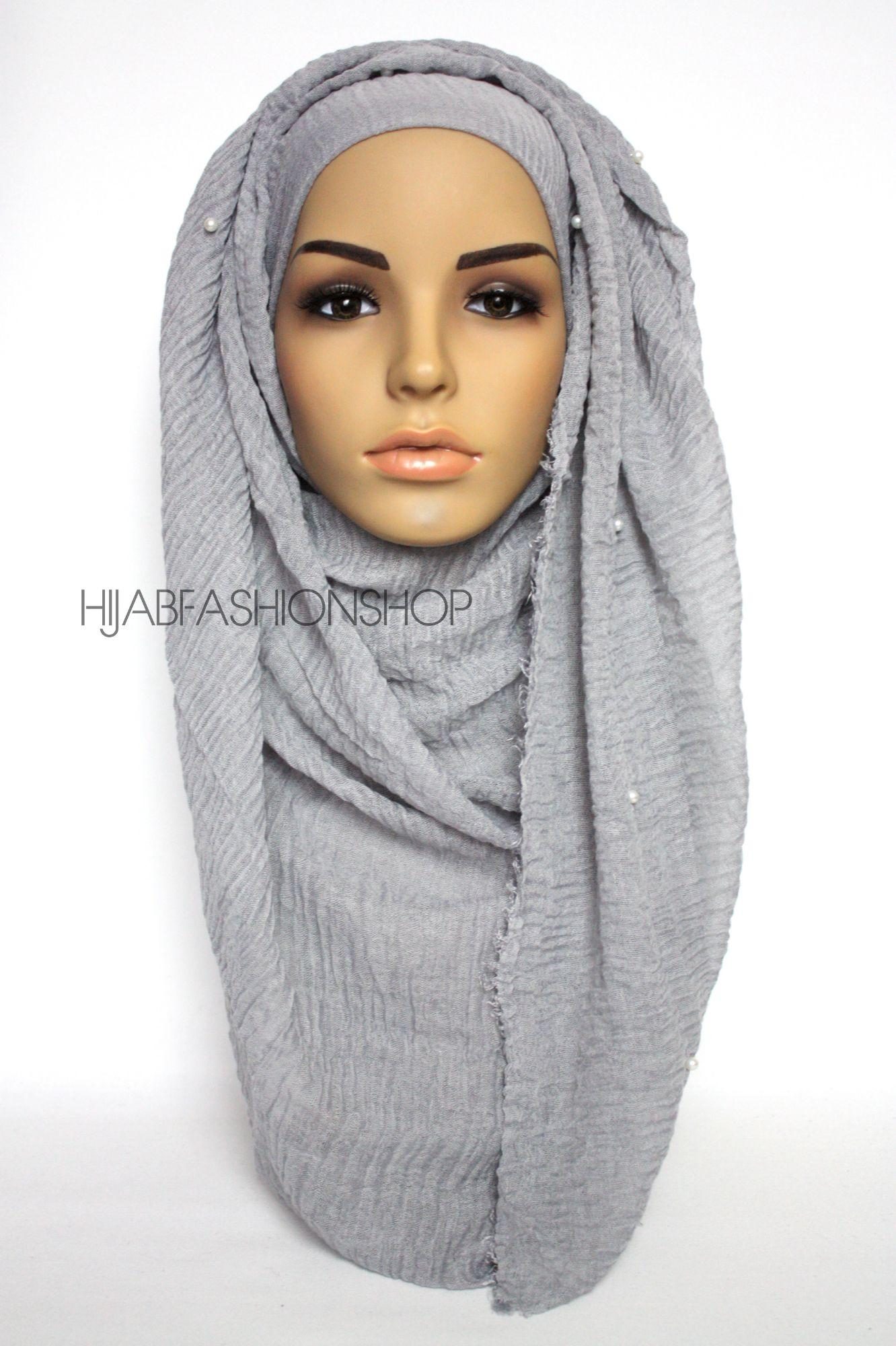 grey crimp crinkle hijab with pearls