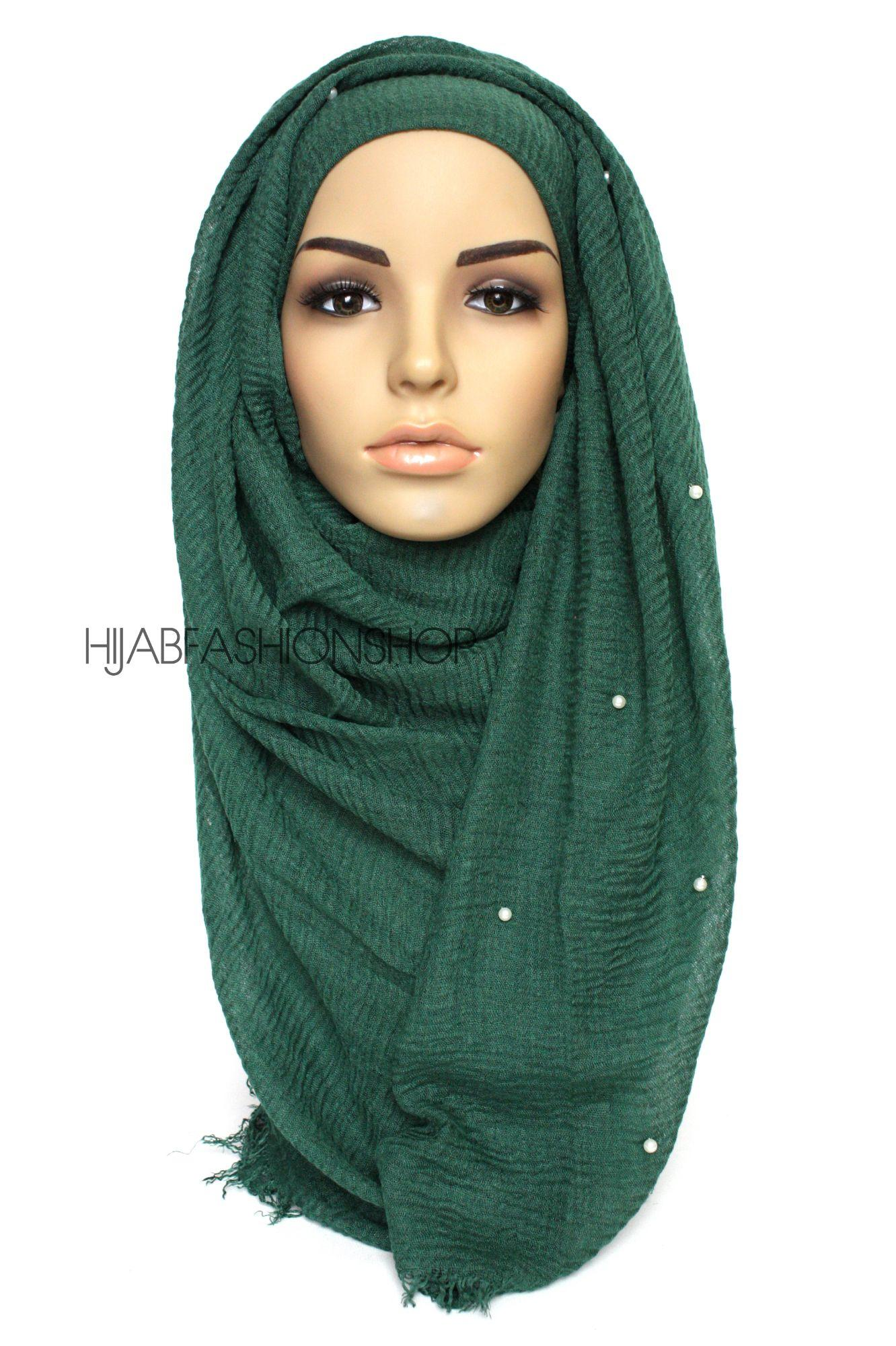 green crimp crinkle hijab with pearls