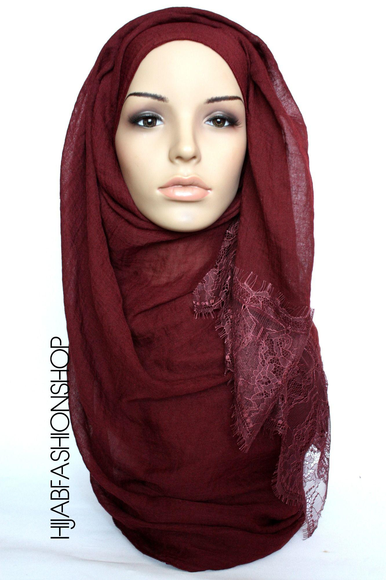 mulberry plain hijab with lace edges