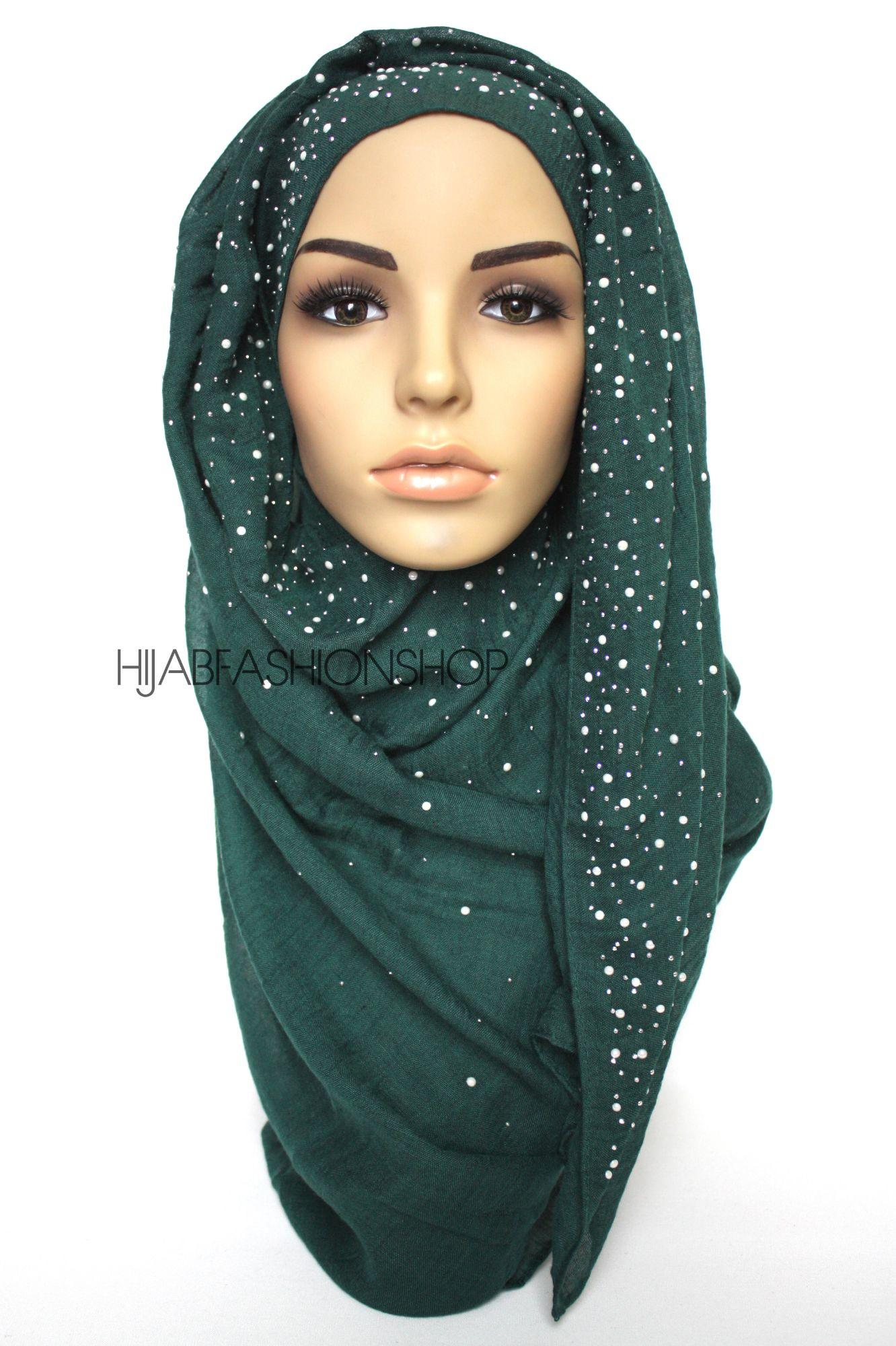 dark green hijab with silver studs and pearls