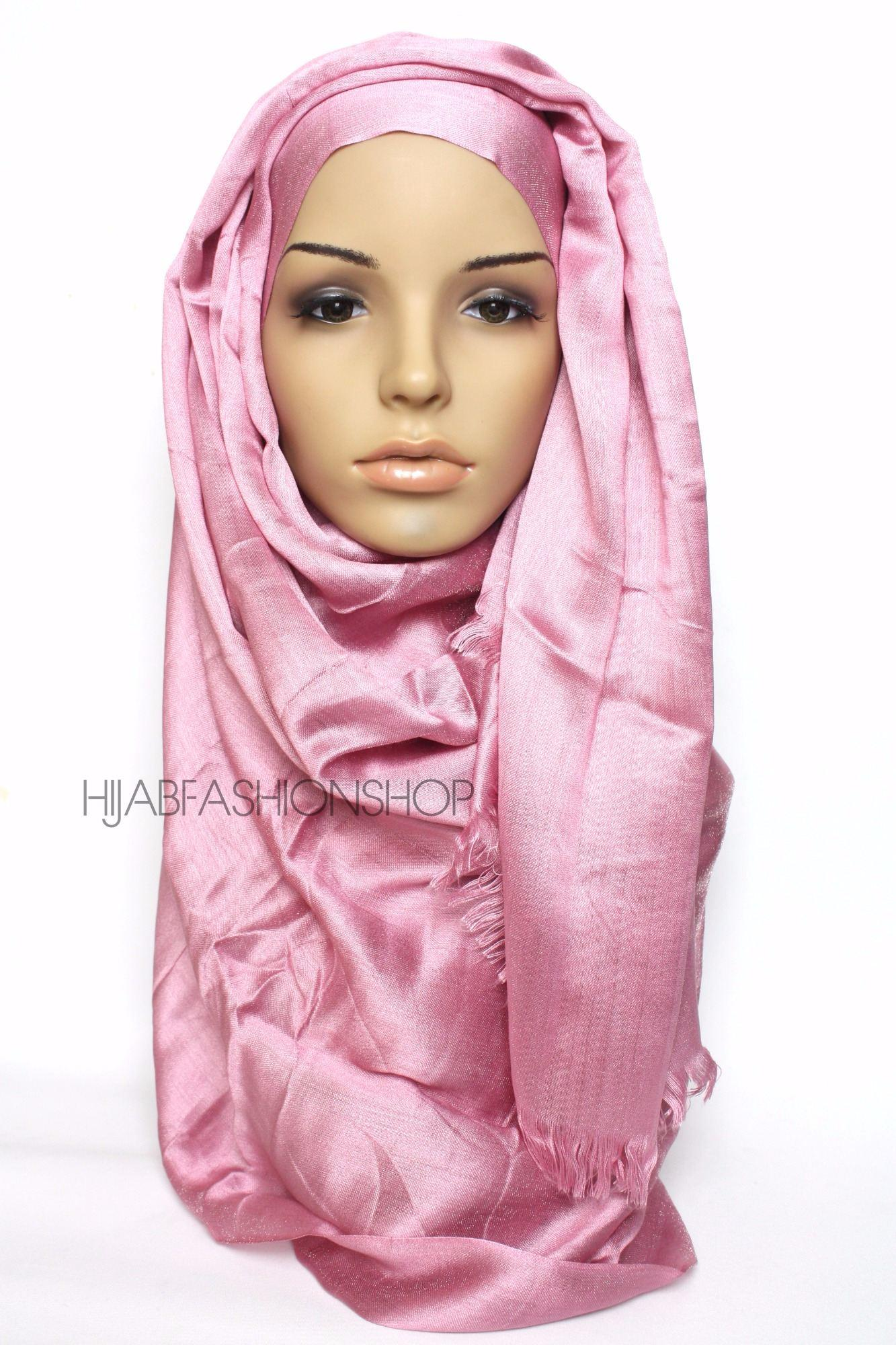 pink sheen hijab with frayed edges