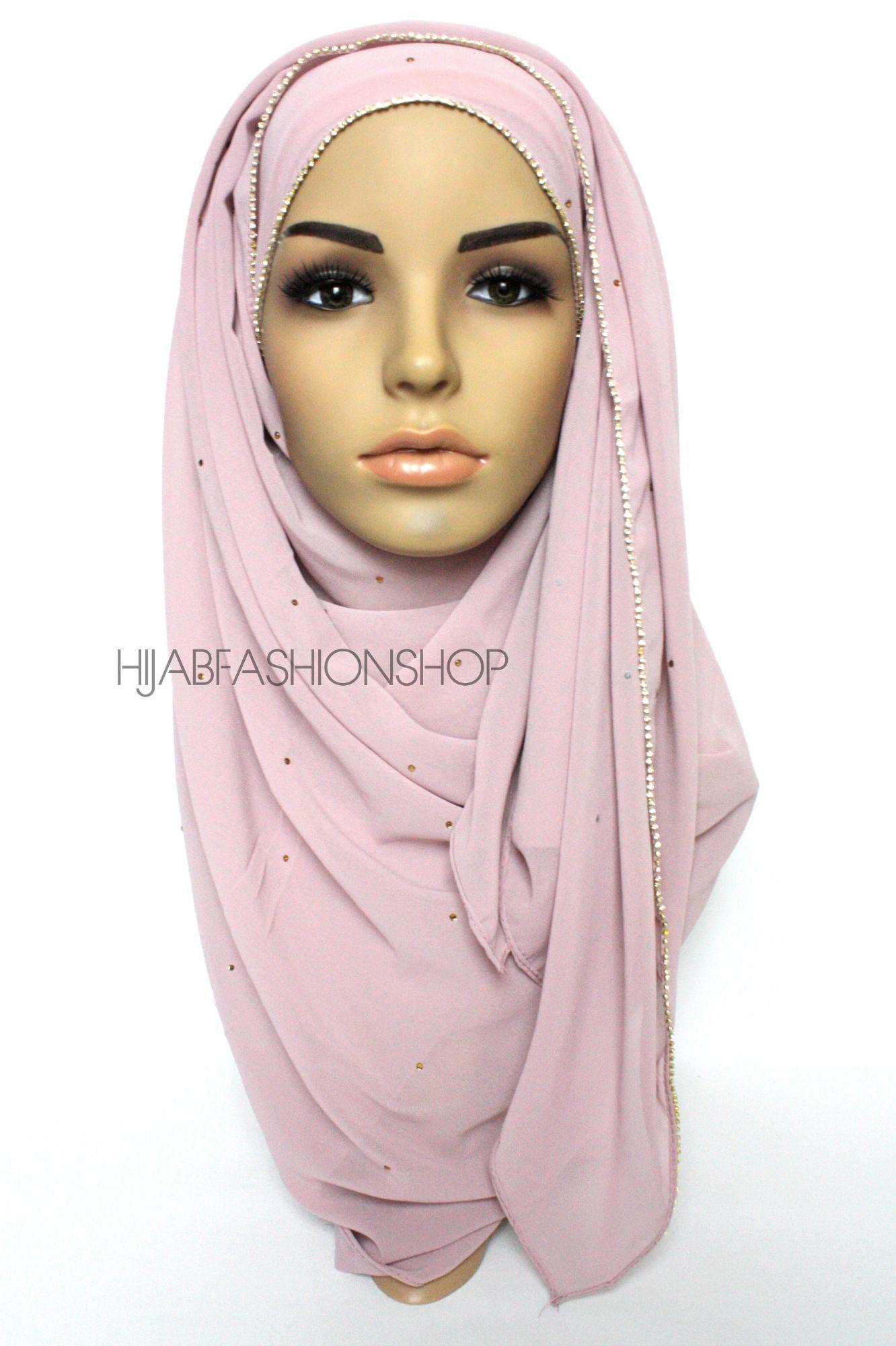pale pink chiffon hijab with clear crystal line on longer edge